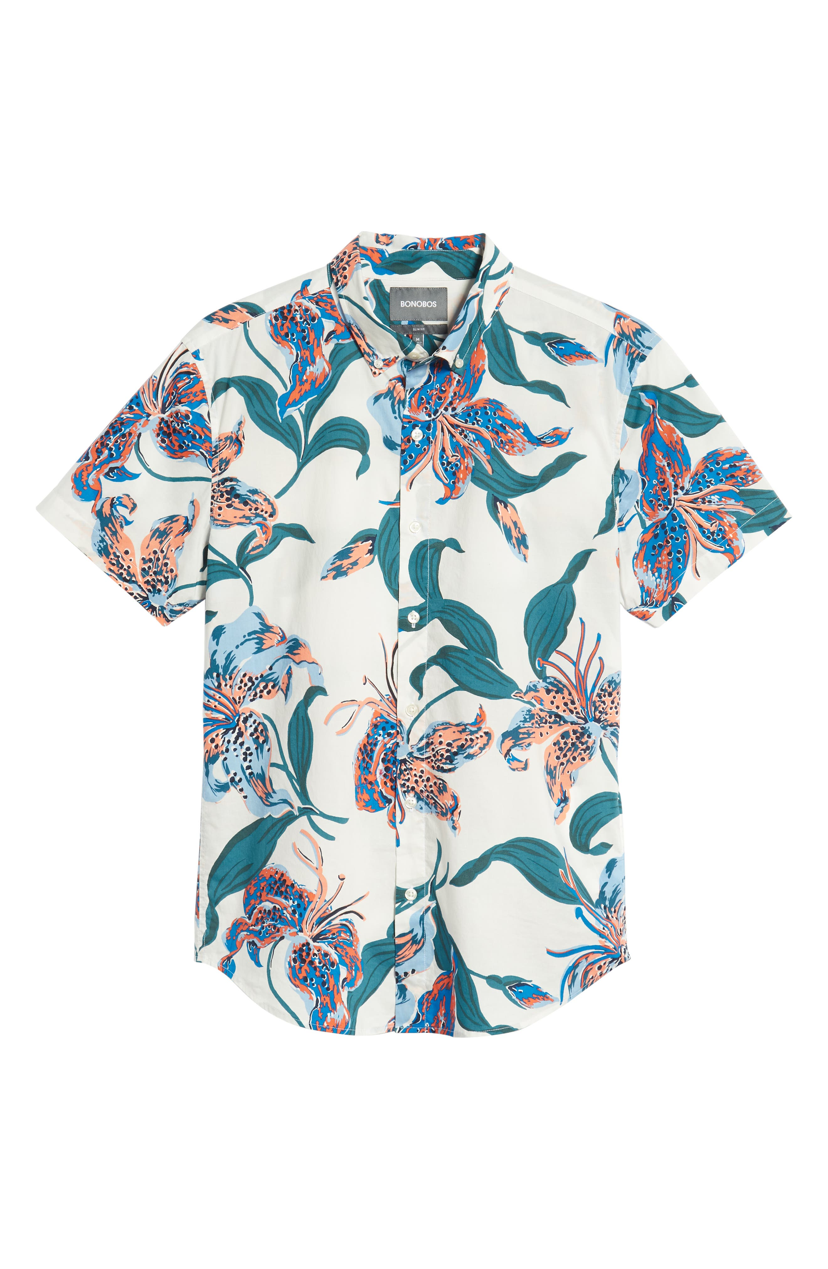 Riviera Slim Fit Floral Sport Shirt,                             Alternate thumbnail 5, color,                             BRIGHTON FLORAL - BLUE LEGACY