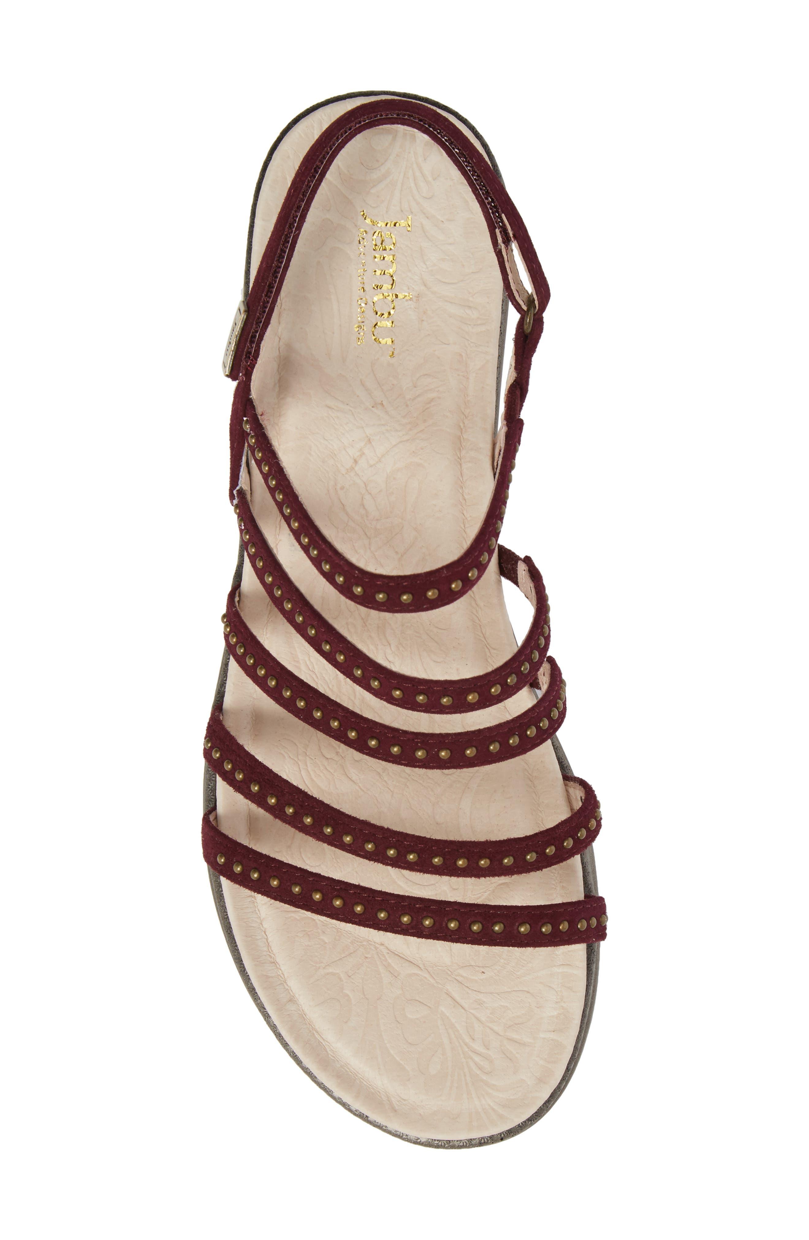 Elegance Studded Strappy Sandal,                             Alternate thumbnail 5, color,                             WINE SUEDE