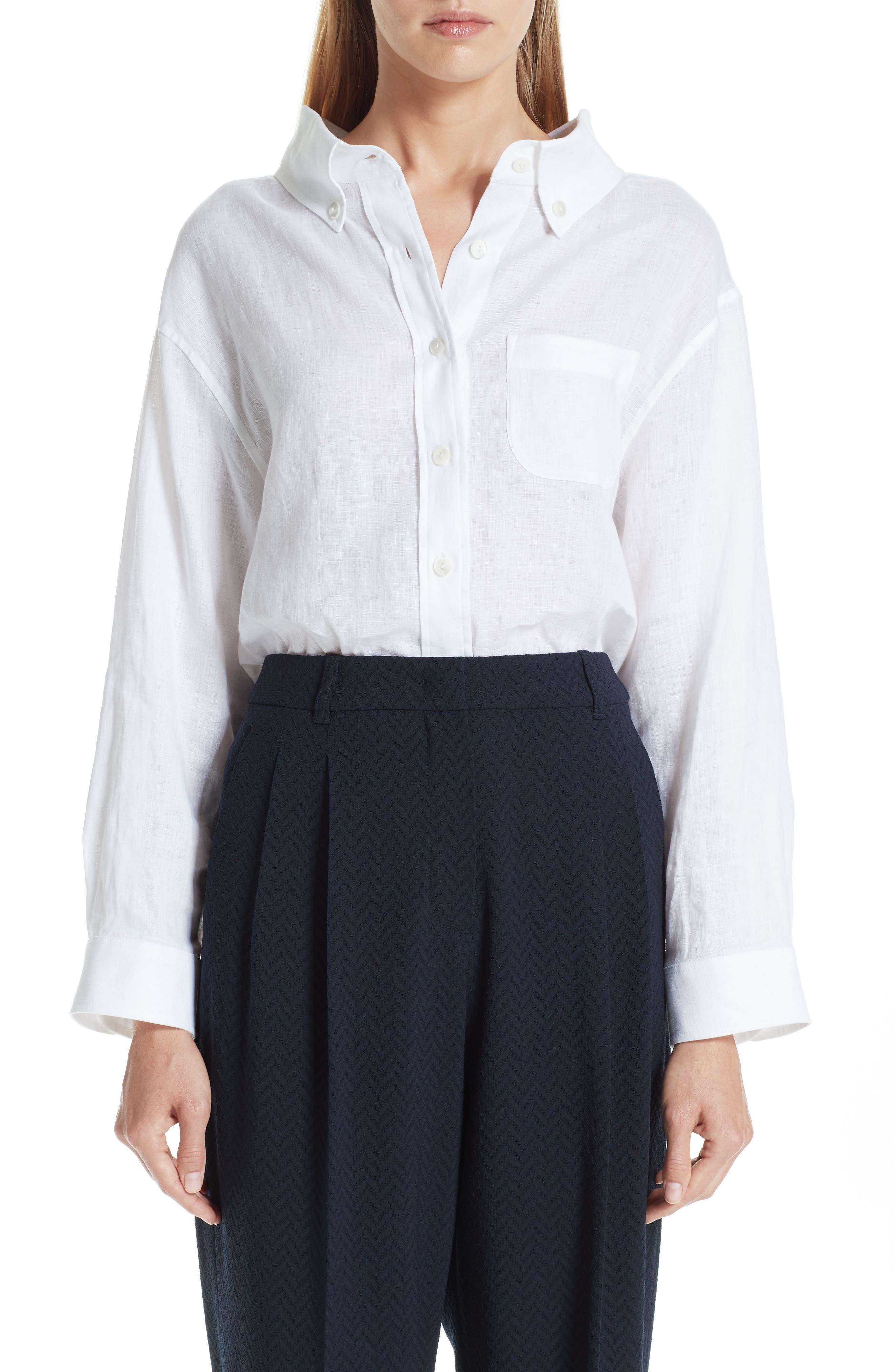 EMPORIO ARMANI Long Sleeve Linen Blouse, Main, color, BIANCO
