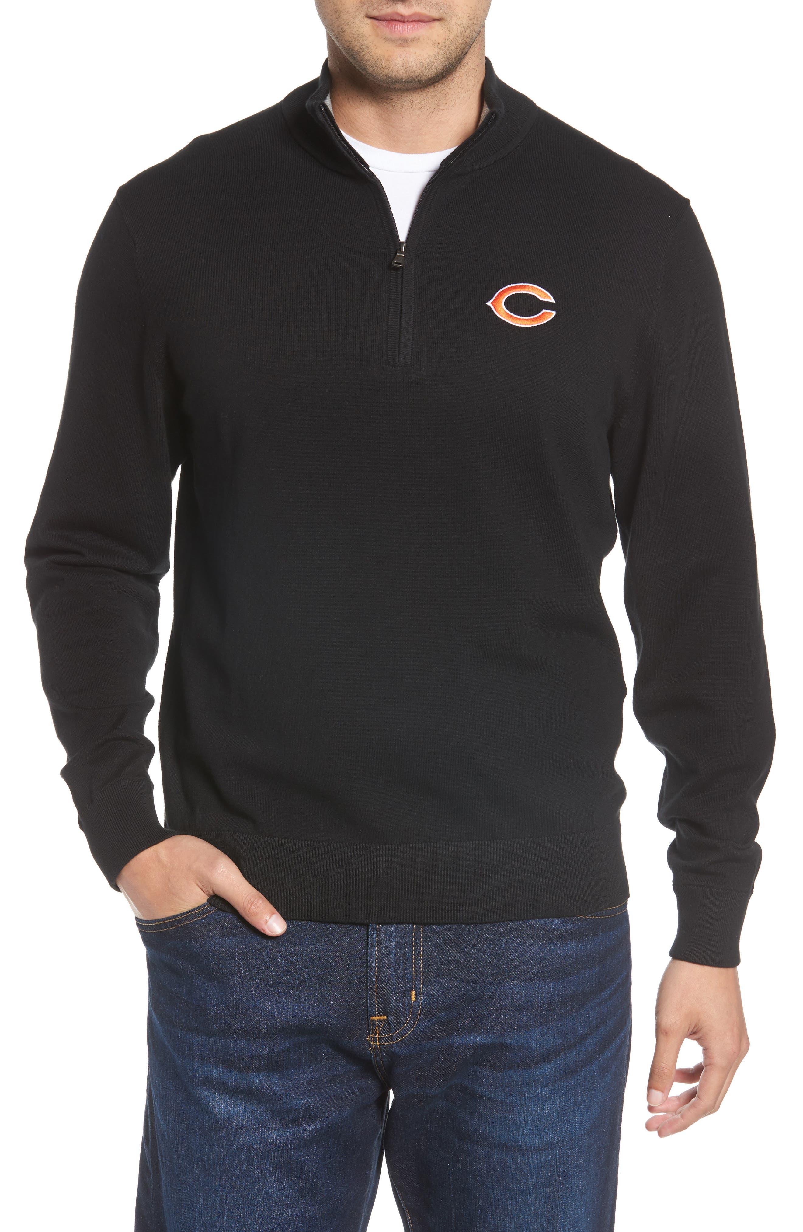 Chicago Bears - Lakemont Regular Fit Quarter Zip Sweater,                         Main,                         color, BLACK