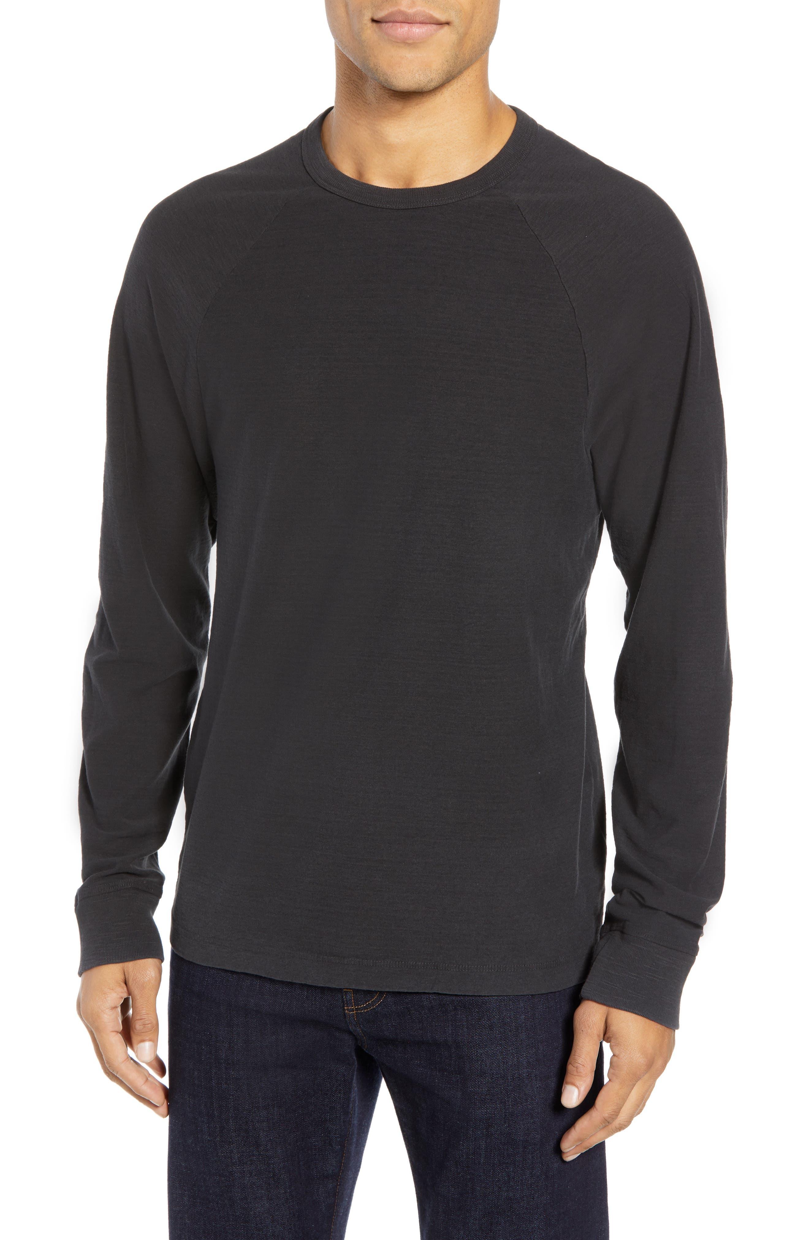 Microstripe Long Sleeve Raglan T-Shirt,                         Main,                         color, CARBON