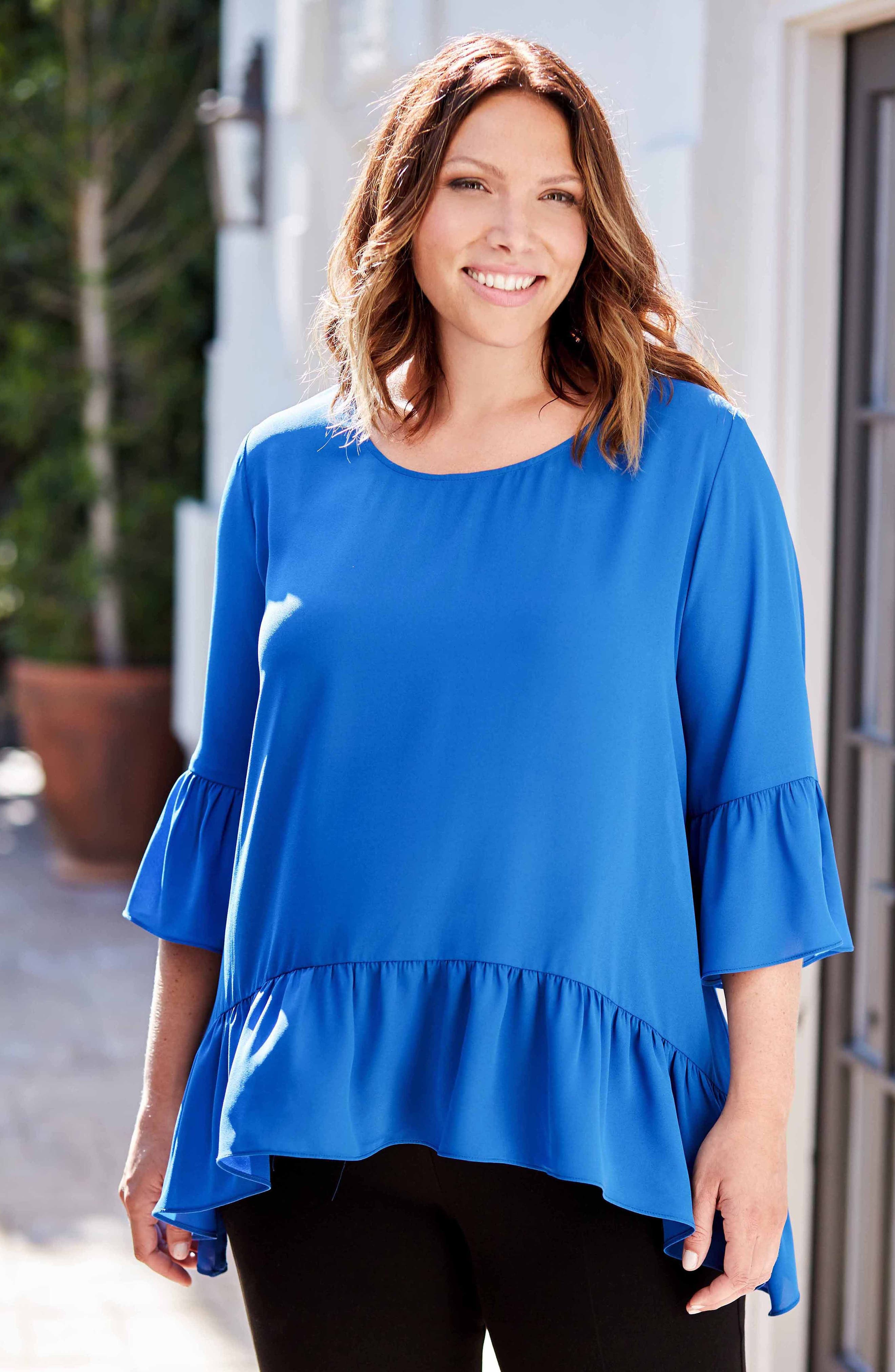 Ruffle Hem Top,                             Alternate thumbnail 7, color,