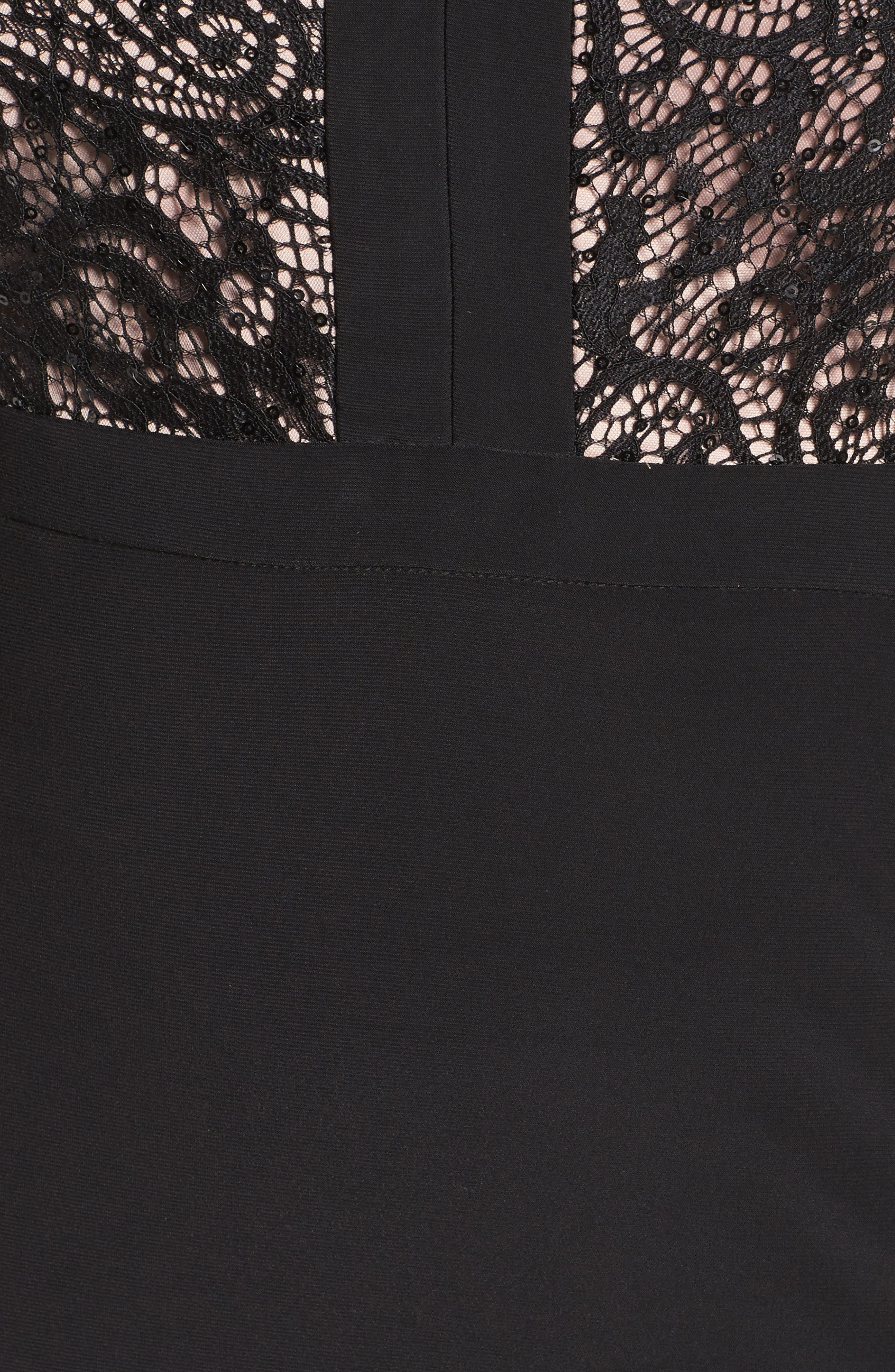 MORGAN & CO.,                             Lace Bodice Dress,                             Alternate thumbnail 5, color,                             BLACK/ NUDE