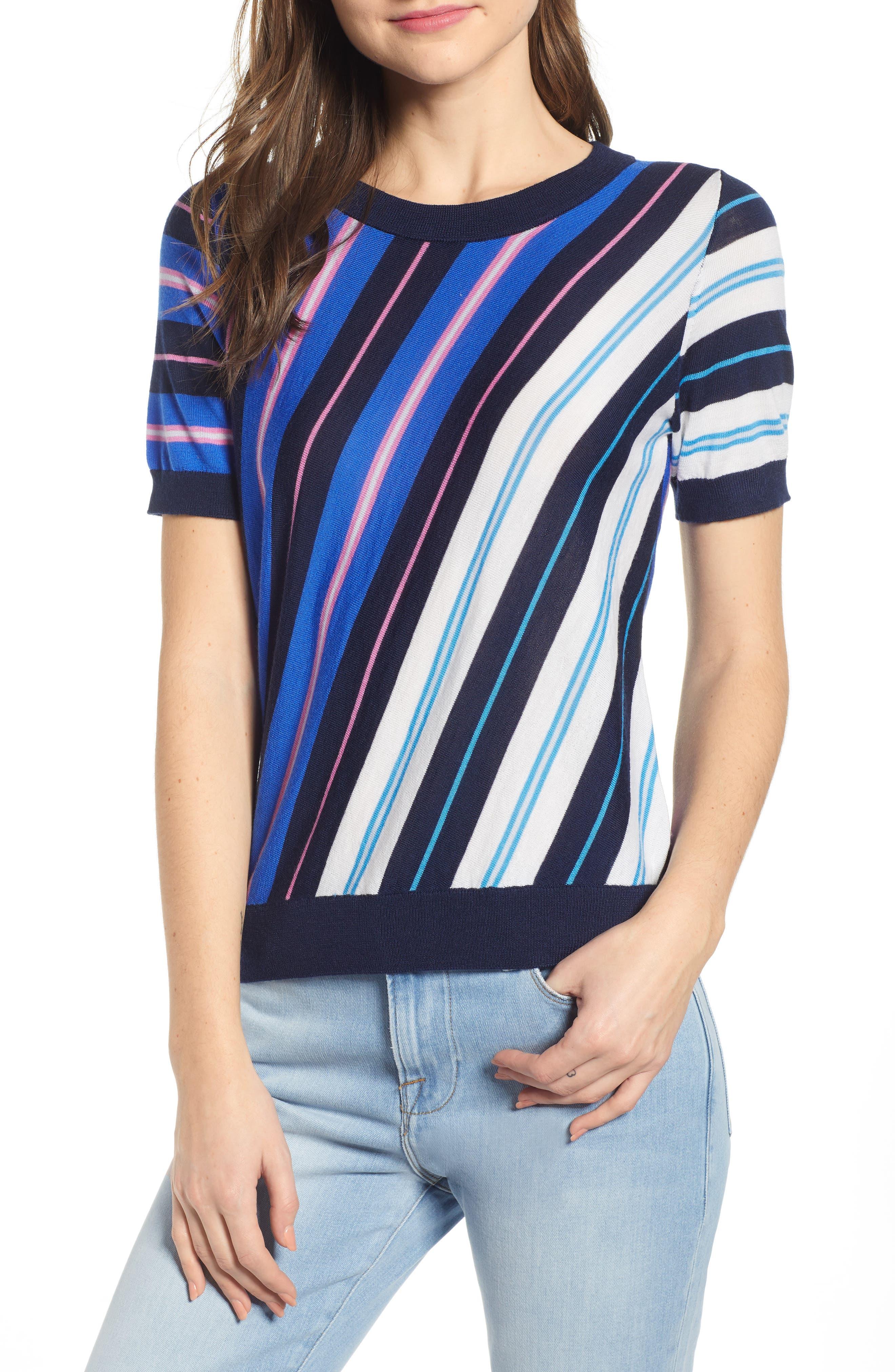 J.crew Diagonal Stripe Short Sleeve Cotton & Wool Blend Sweater, Blue