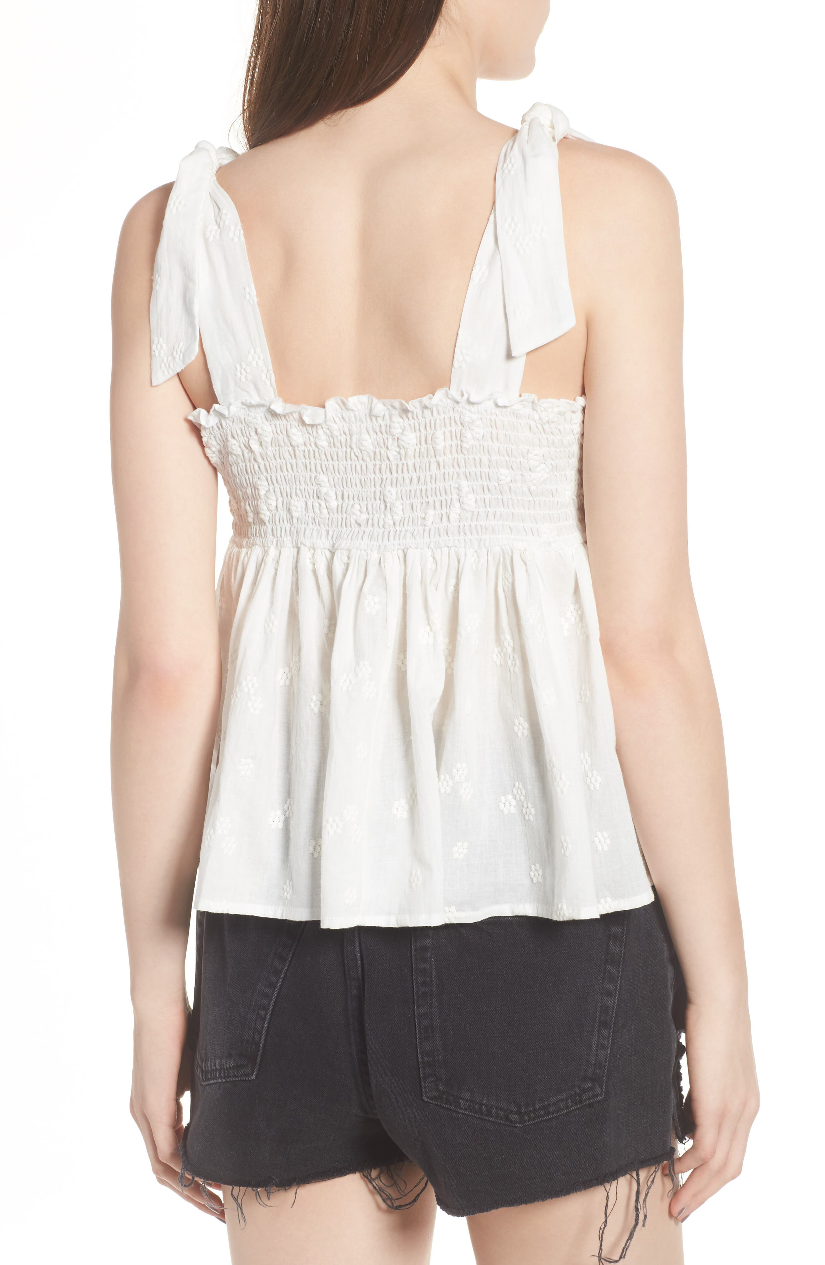 Embroidered Peplum Tank,                             Alternate thumbnail 4, color,