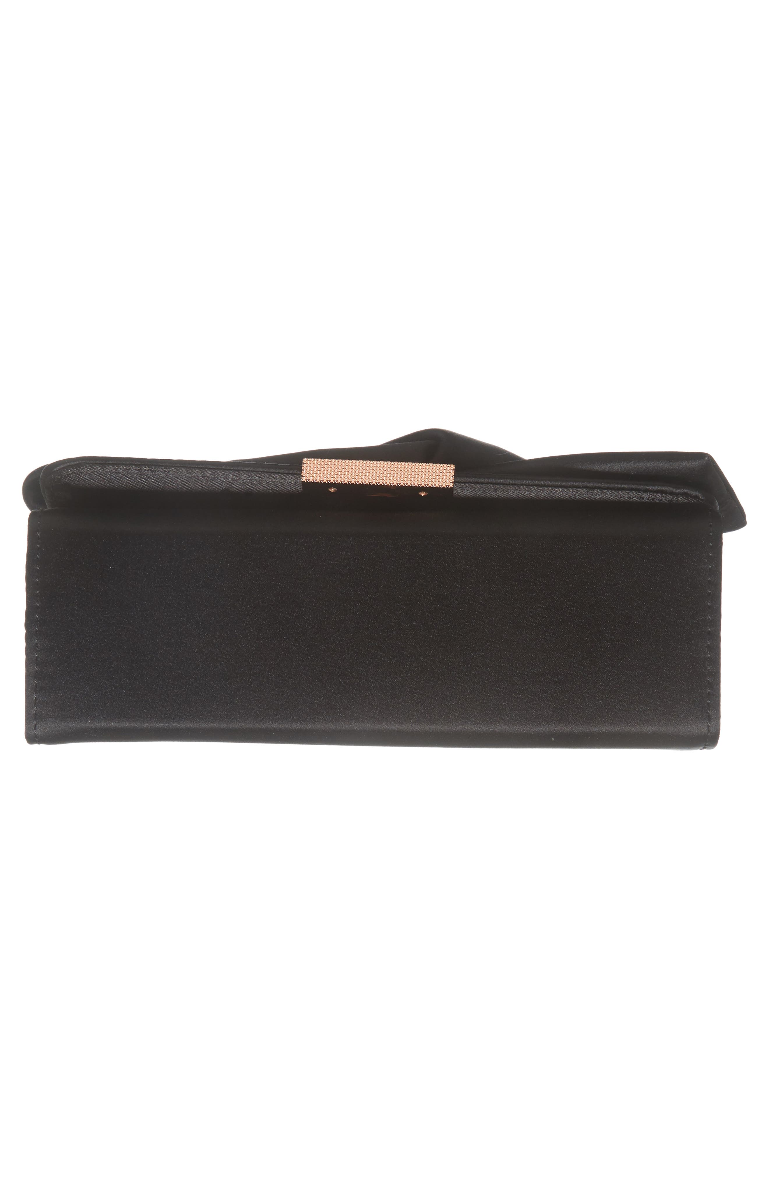 Fefee Satin Knotted Bow Clutch,                             Alternate thumbnail 6, color,                             001