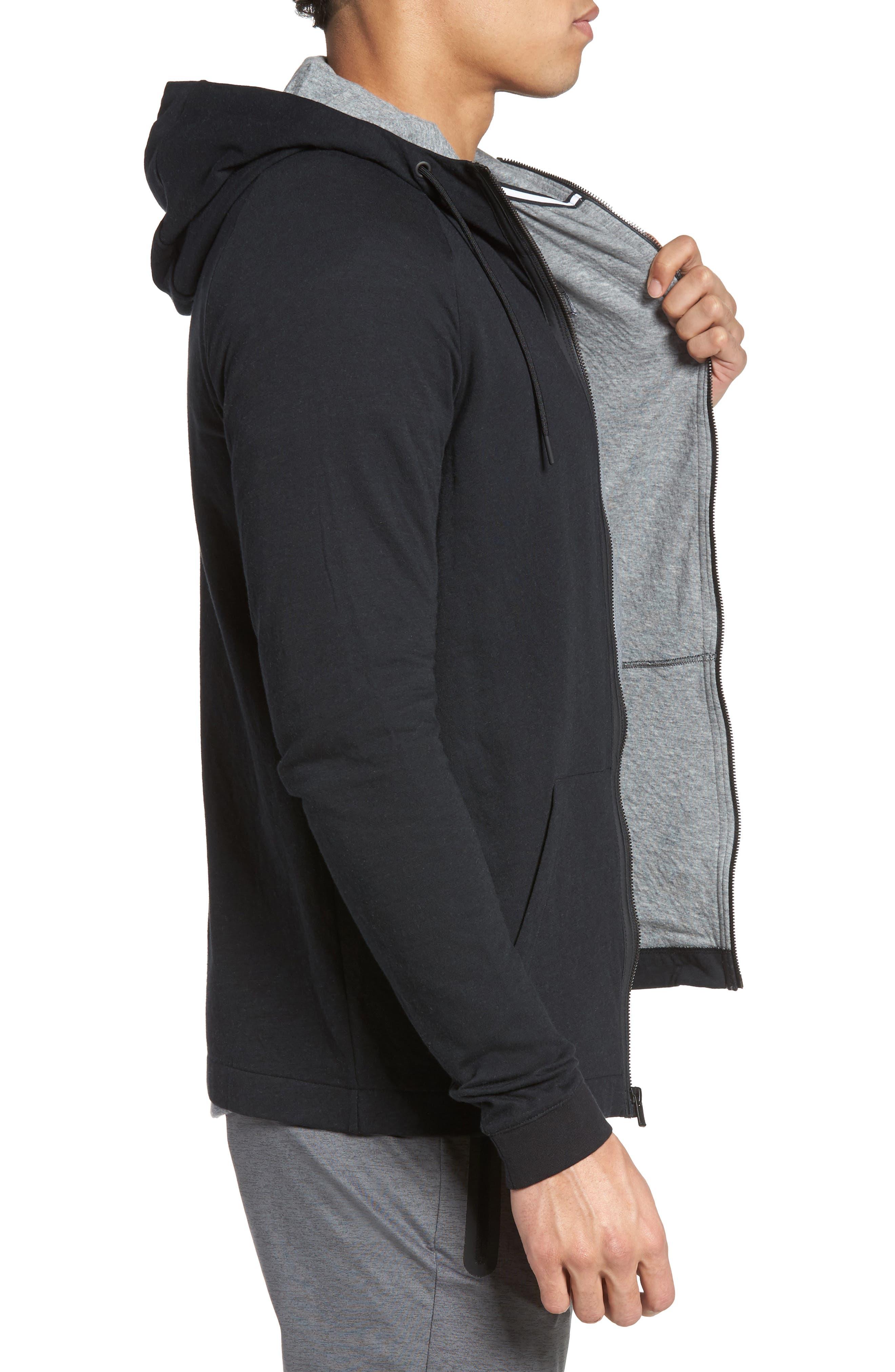 Tech Regular Fit Fleece Hoodie,                             Alternate thumbnail 3, color,                             BLACK/ CARBON HEATHER