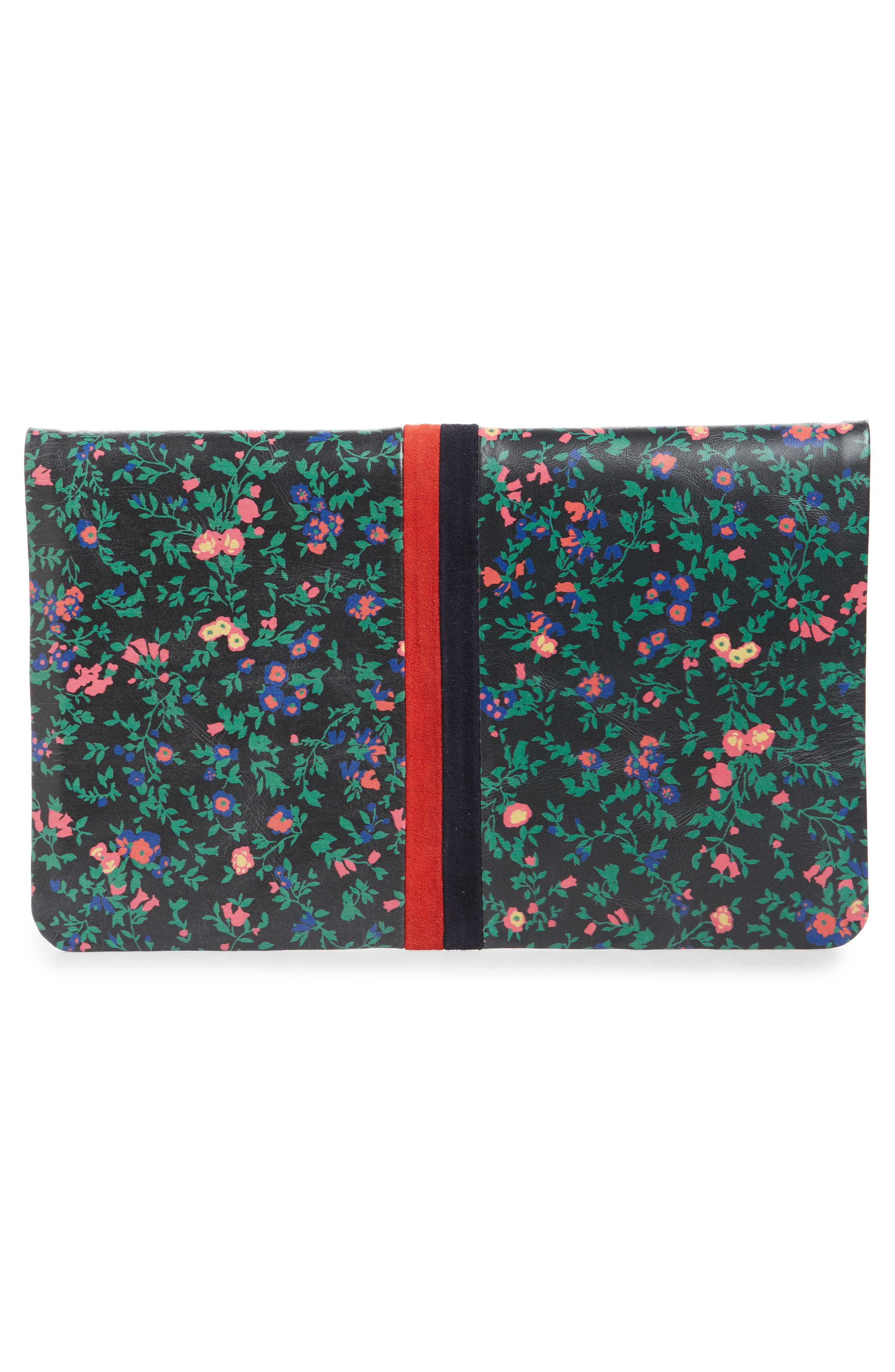 Foldover Ditzy Floral Leather Clutch,                             Alternate thumbnail 3, color,                             BLACK