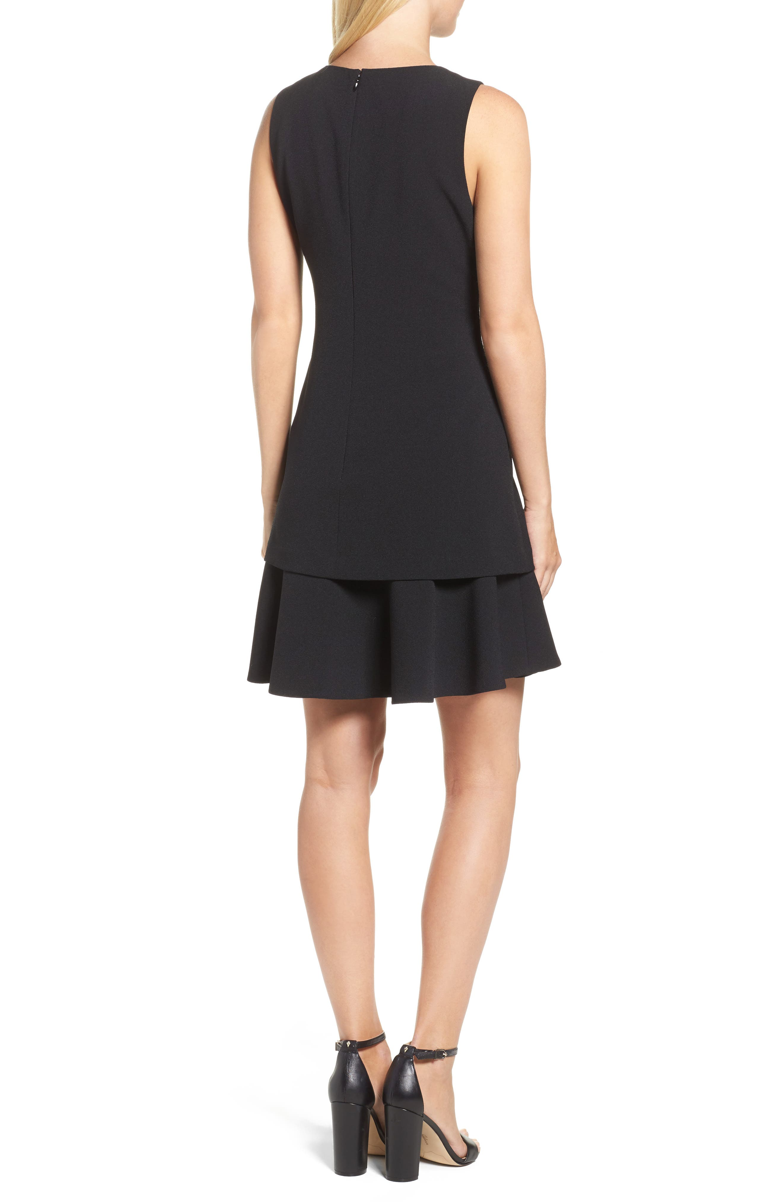 Crepe Fit & Flare Dress,                             Alternate thumbnail 2, color,                             001