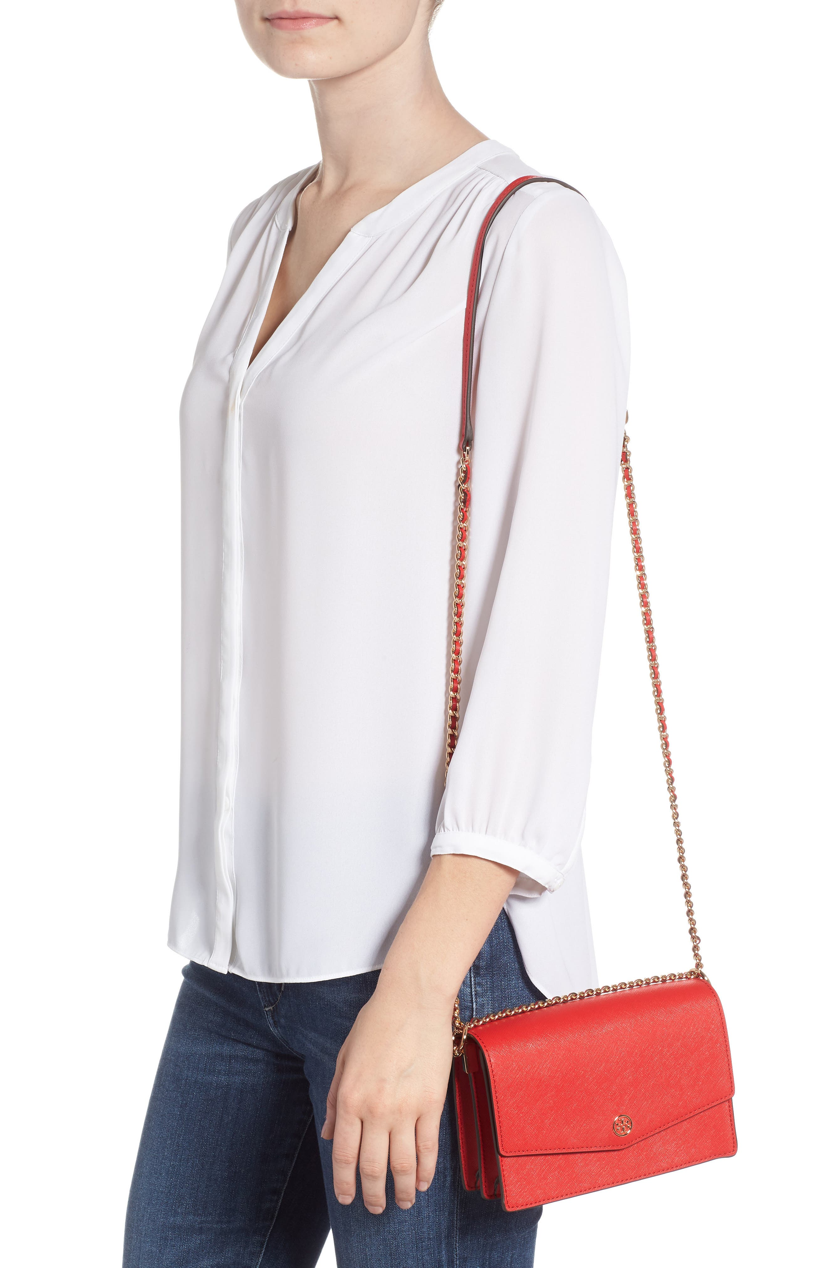 Mini Robinson Convertible Leather Shoulder Bag,                             Alternate thumbnail 2, color,                             BRILLIANT RED