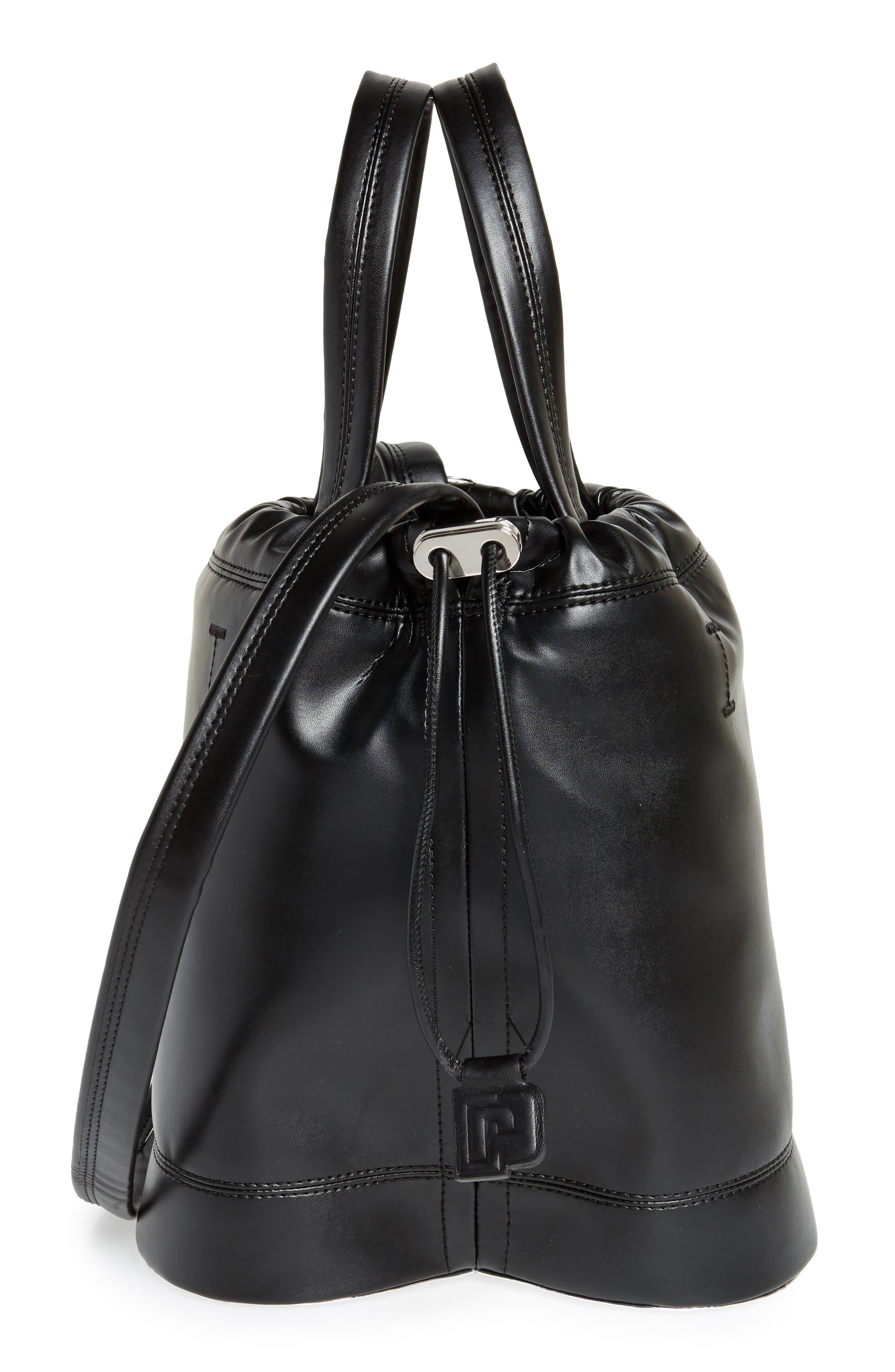 Medium Pouch Faux Leather Tote,                             Alternate thumbnail 5, color,                             BLACK