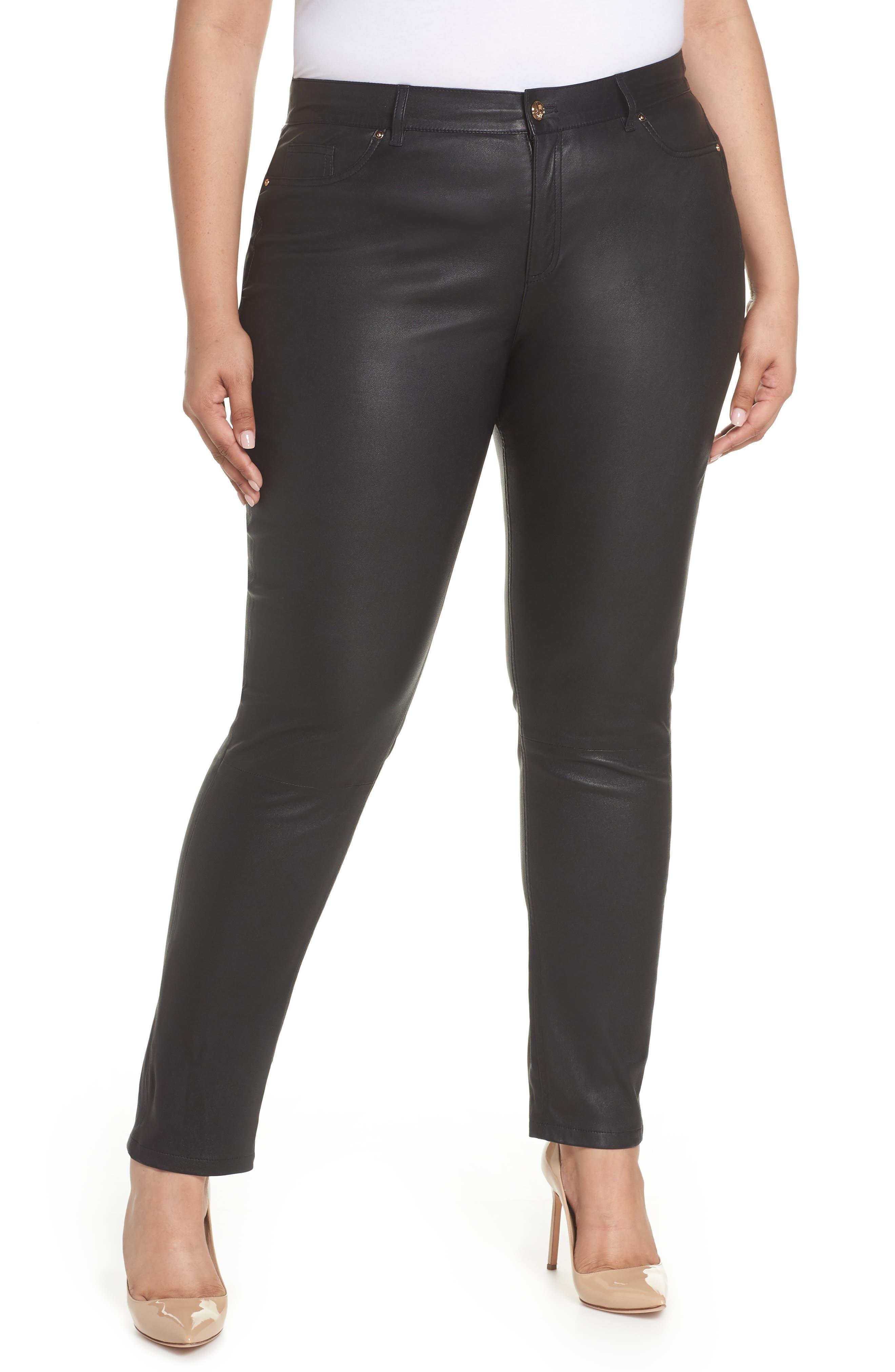 Eboli Leather Pants,                         Main,                         color, 001
