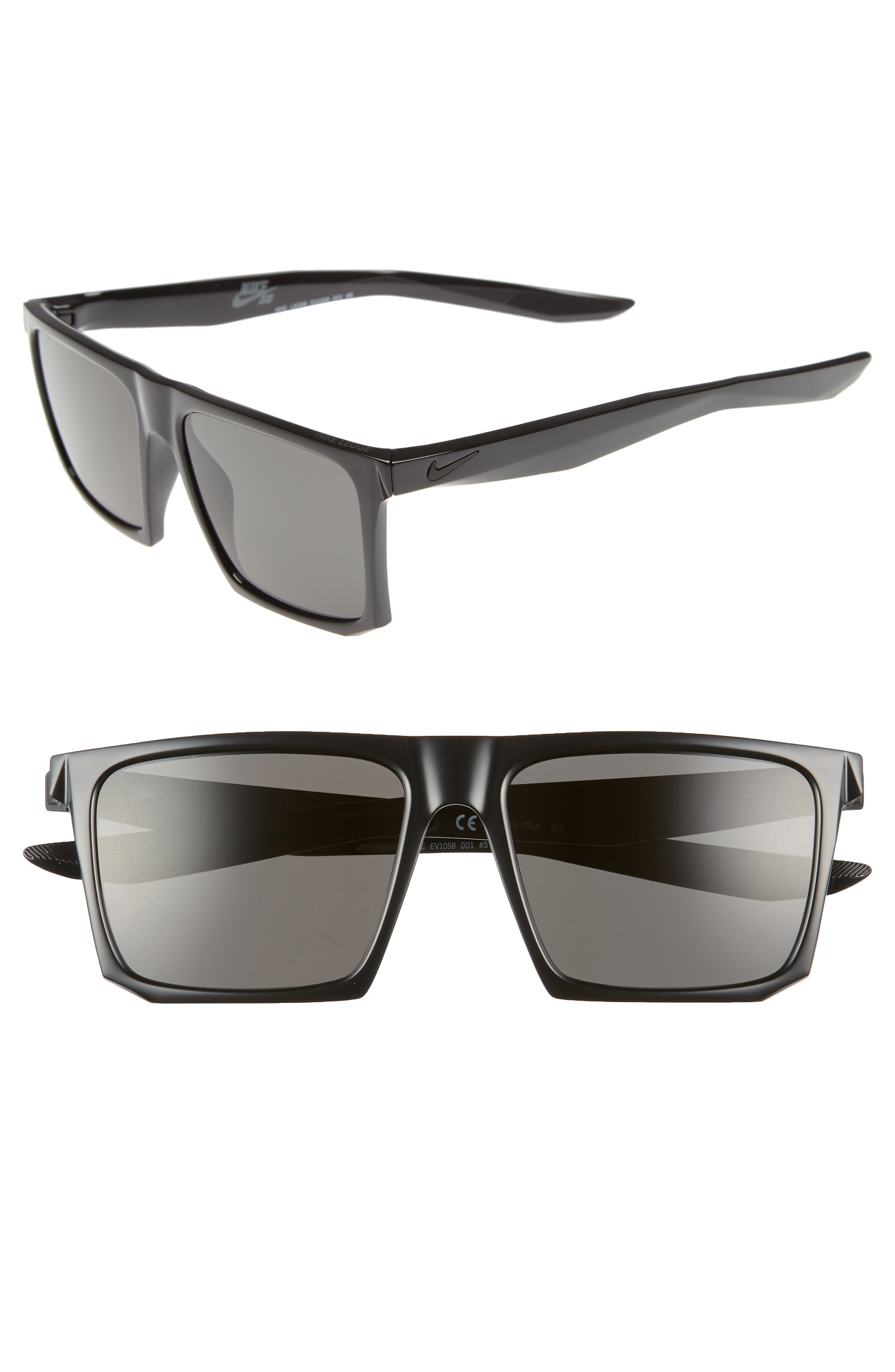 Ledge 56mm Sunglasses,                             Main thumbnail 1, color,                             BLACK/ DARK GREY
