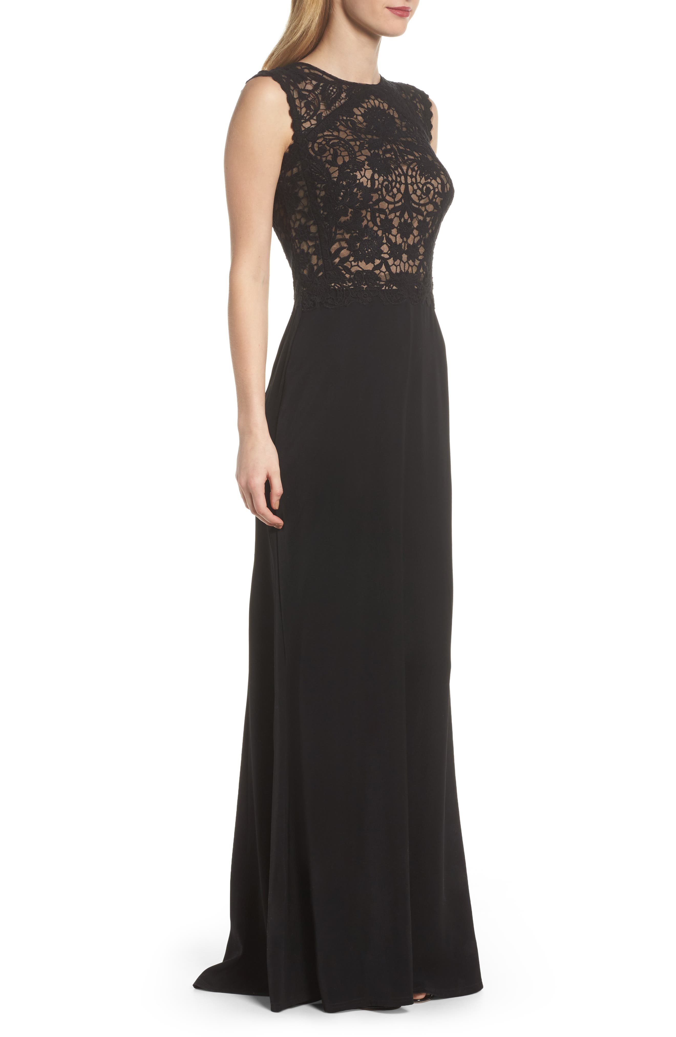 Lace Bodice Gown,                             Alternate thumbnail 3, color,                             004