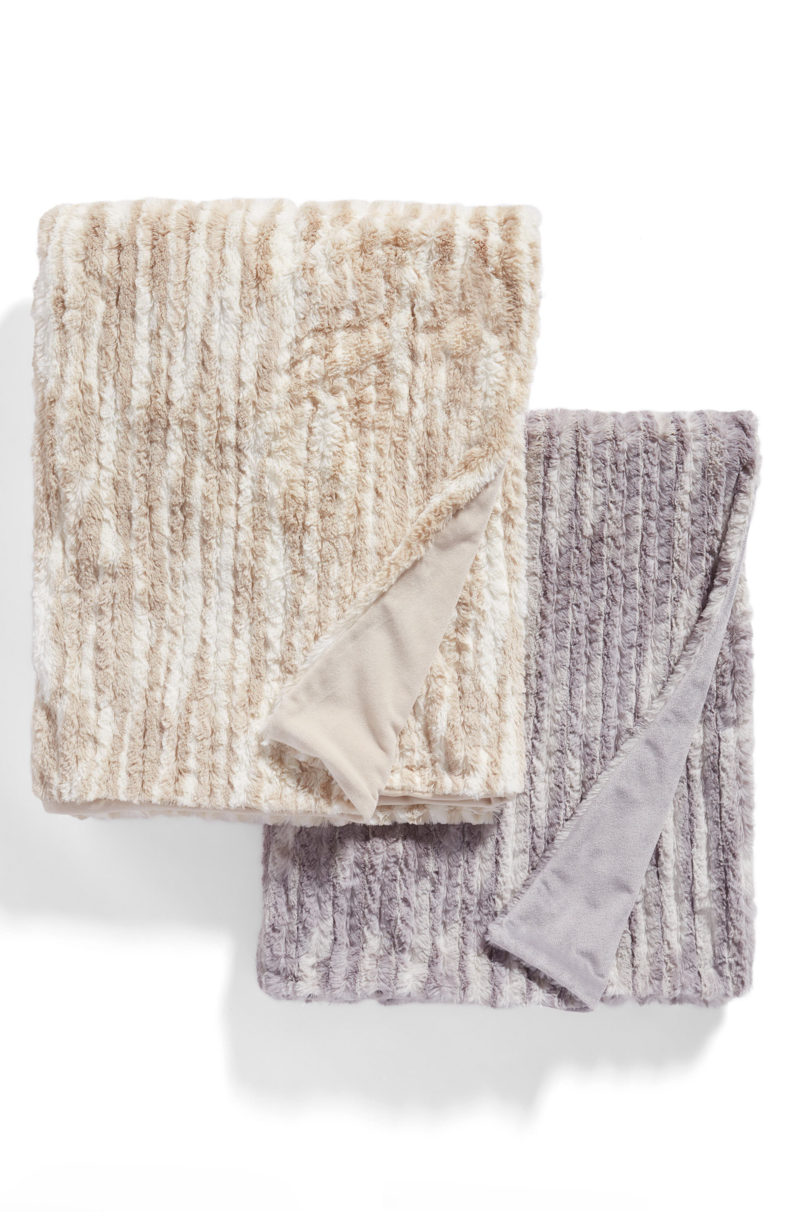 Soft Ribbed Plush Throw,                             Alternate thumbnail 3, color,                             BEIGE OATMEAL PRINT