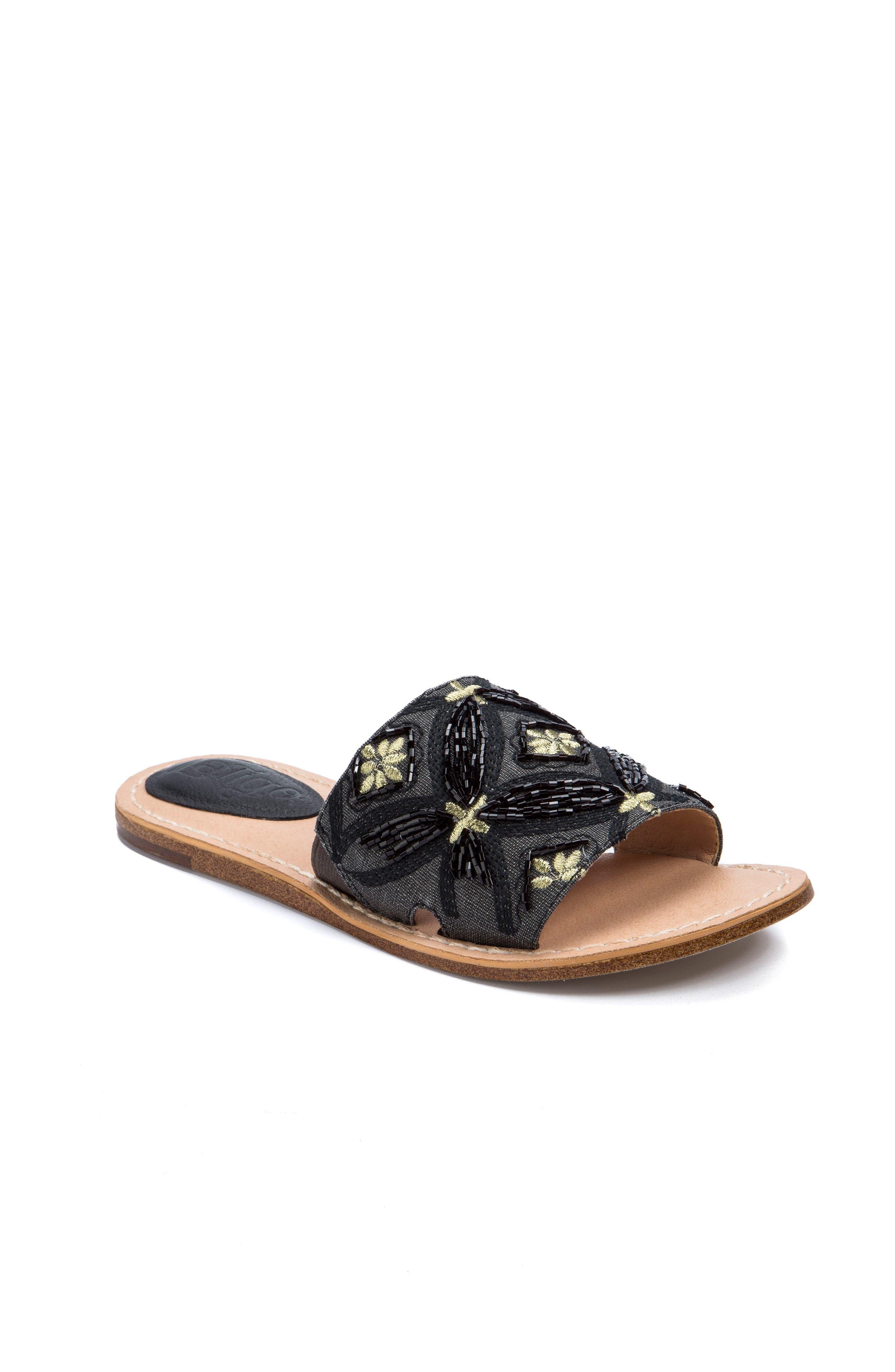 Vella Embellished Slide Sandal,                             Main thumbnail 1, color,                             001