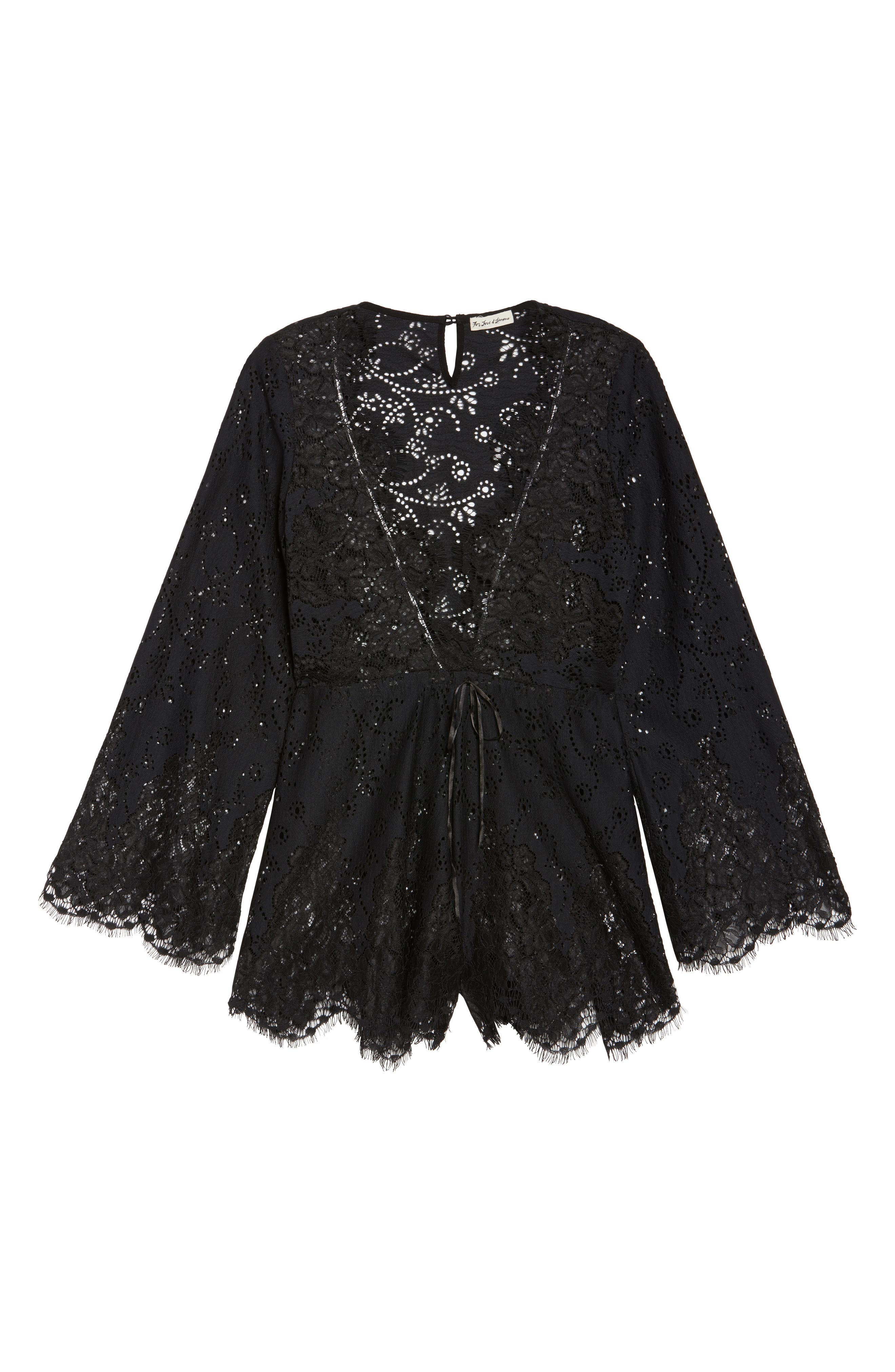 Olympia Lace Cover-Up Romper,                             Alternate thumbnail 6, color,                             001