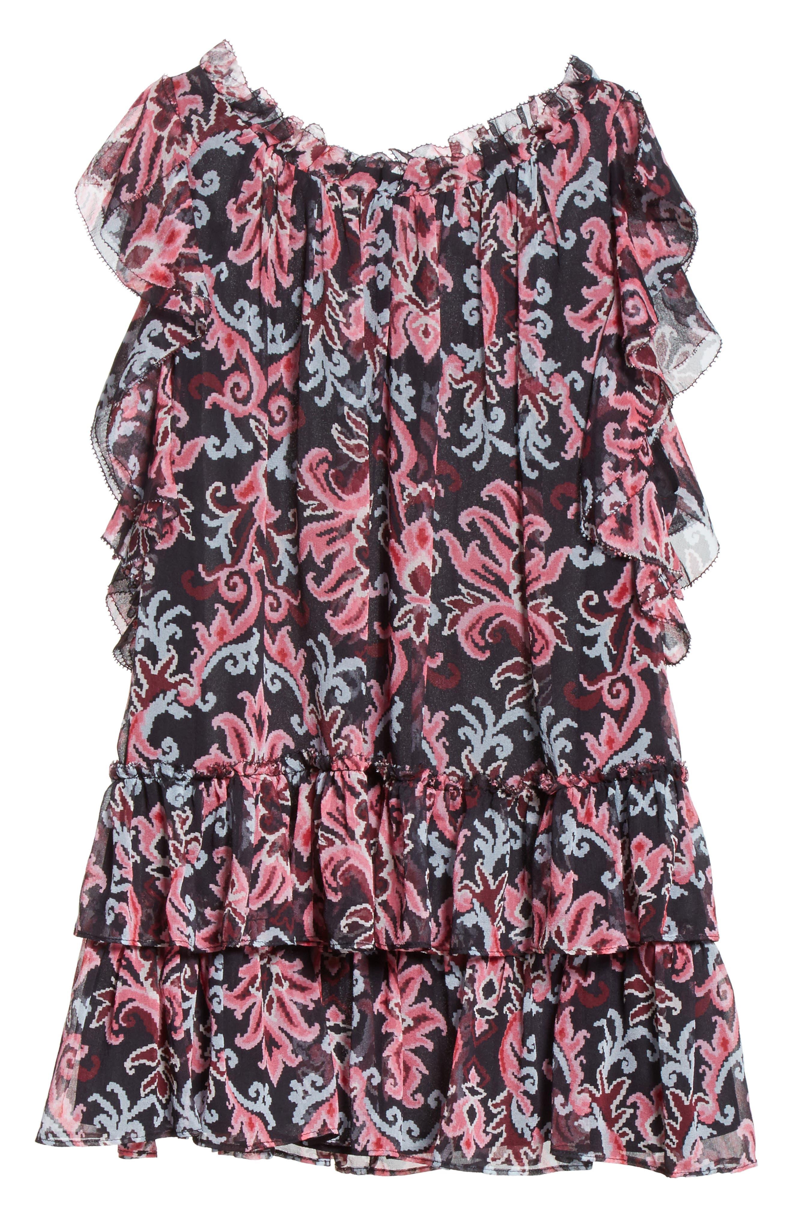tapestry silk chiffon ruffle top,                             Alternate thumbnail 6, color,