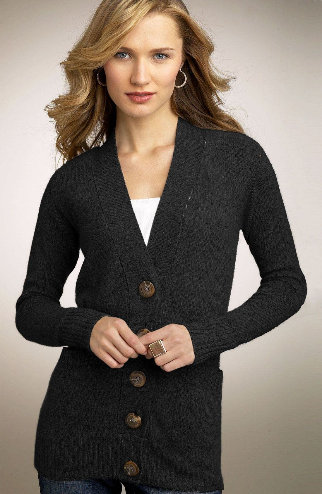 ONE GIRL WHO...,                             One Girl Who Boyfriend Cashmere Cardigan,                             Main thumbnail 1, color,                             BLK