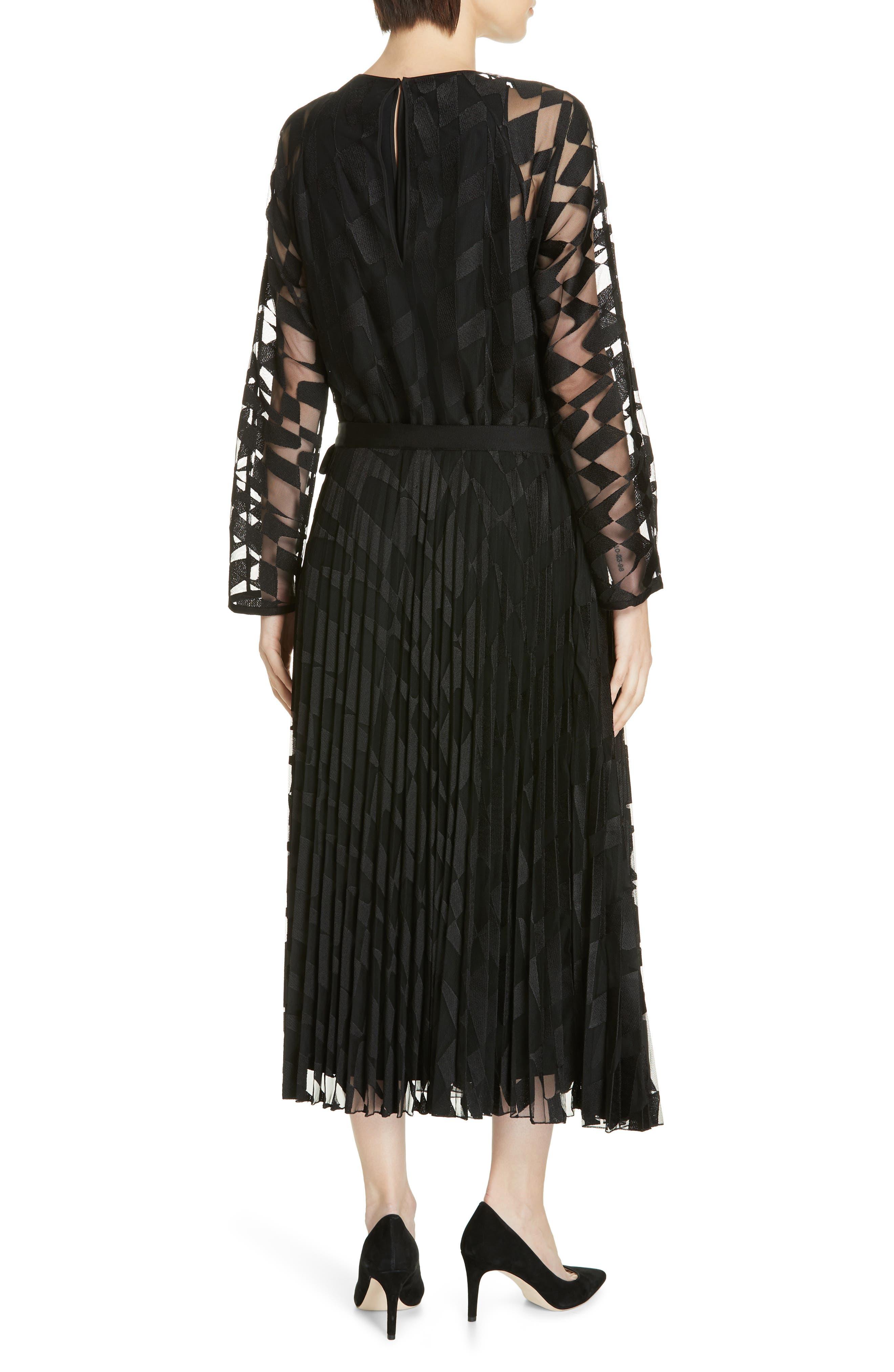 Dalace Pleat & Geo Print Midi Dress,                             Alternate thumbnail 2, color,                             BLACK
