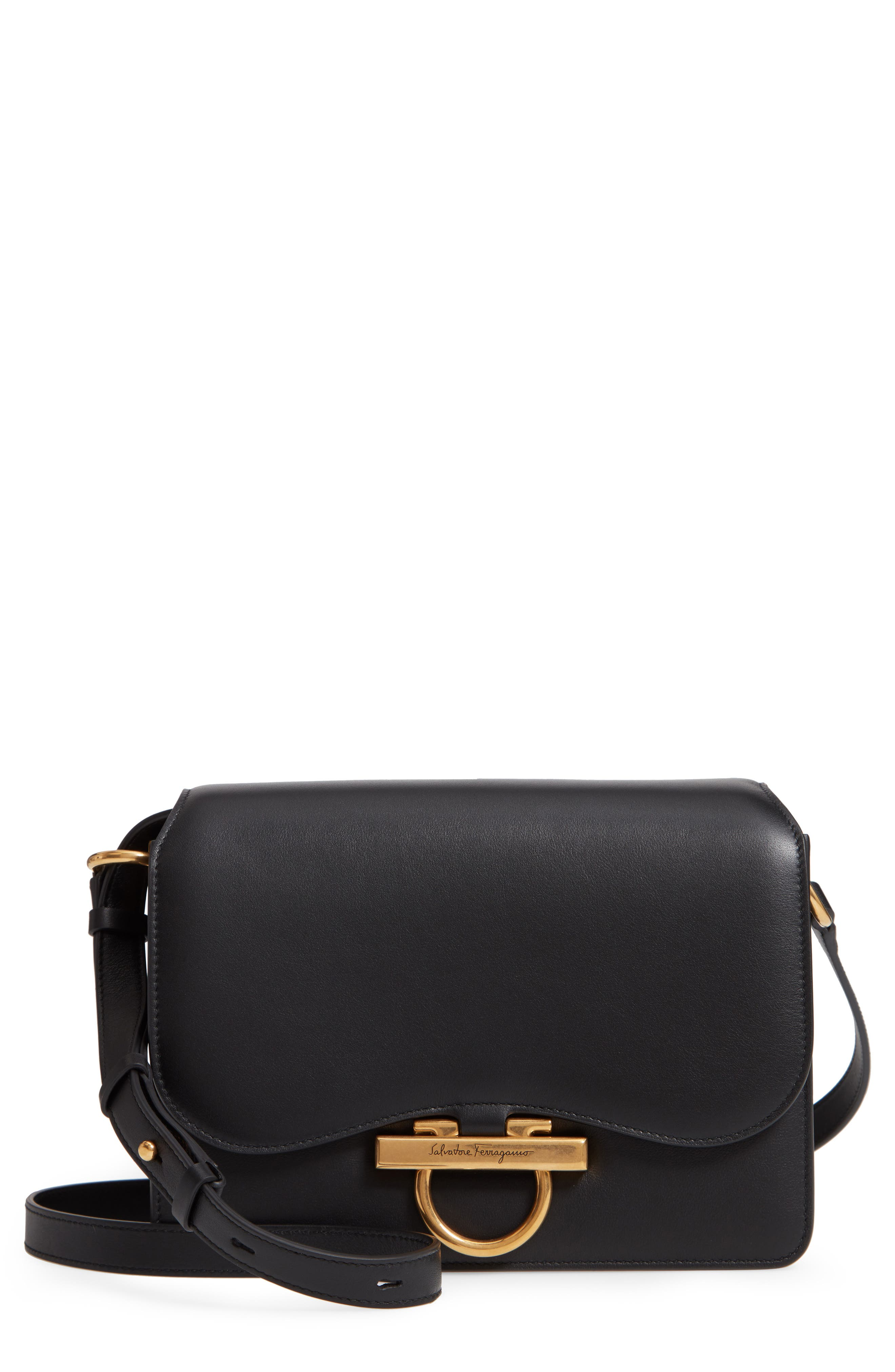 Medium Classic Flap Leather Shoulder Bag,                         Main,                         color, BLACK