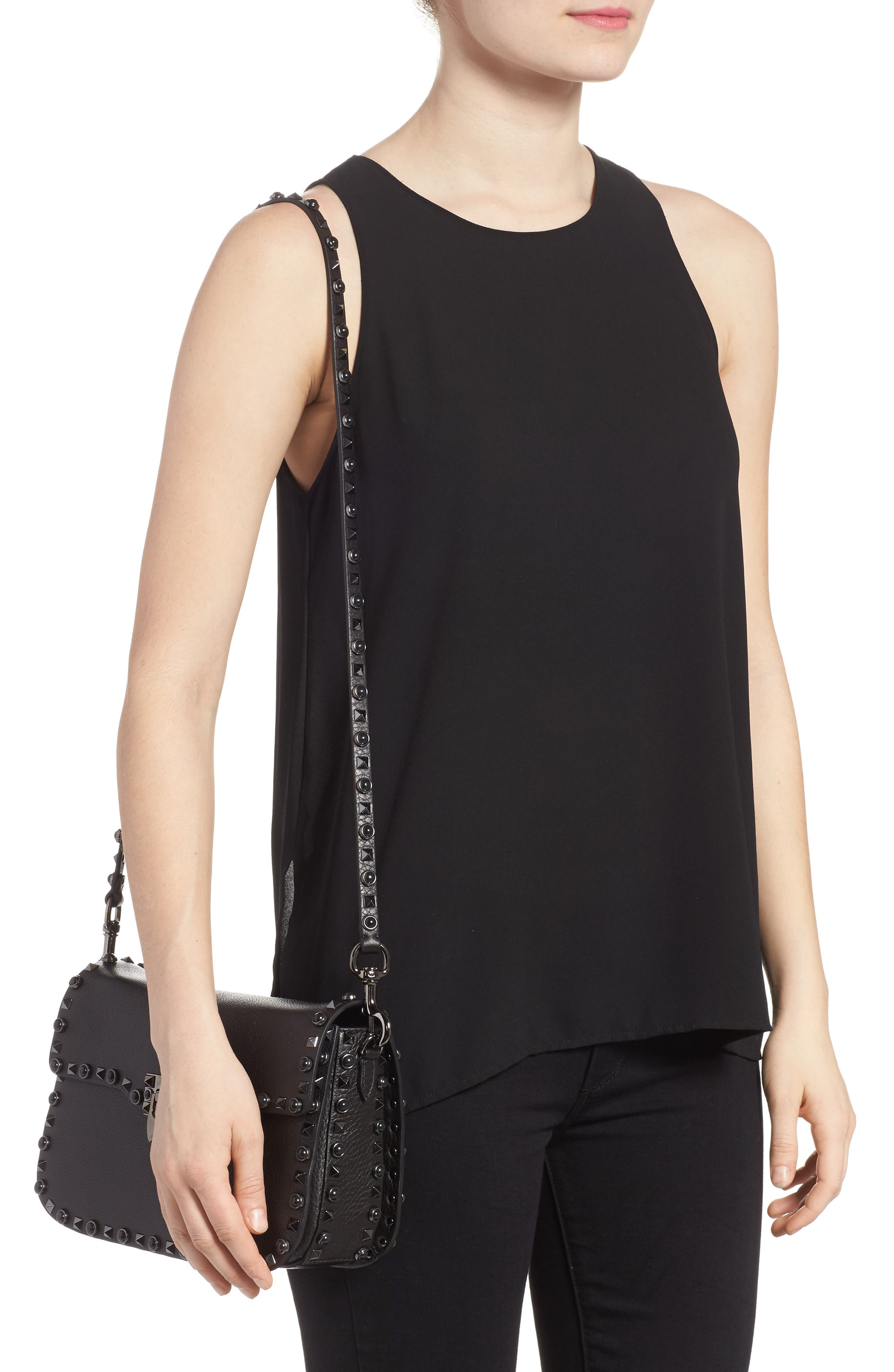 Rockstud Leather Shoulder Bag,                             Alternate thumbnail 2, color,                             NERO