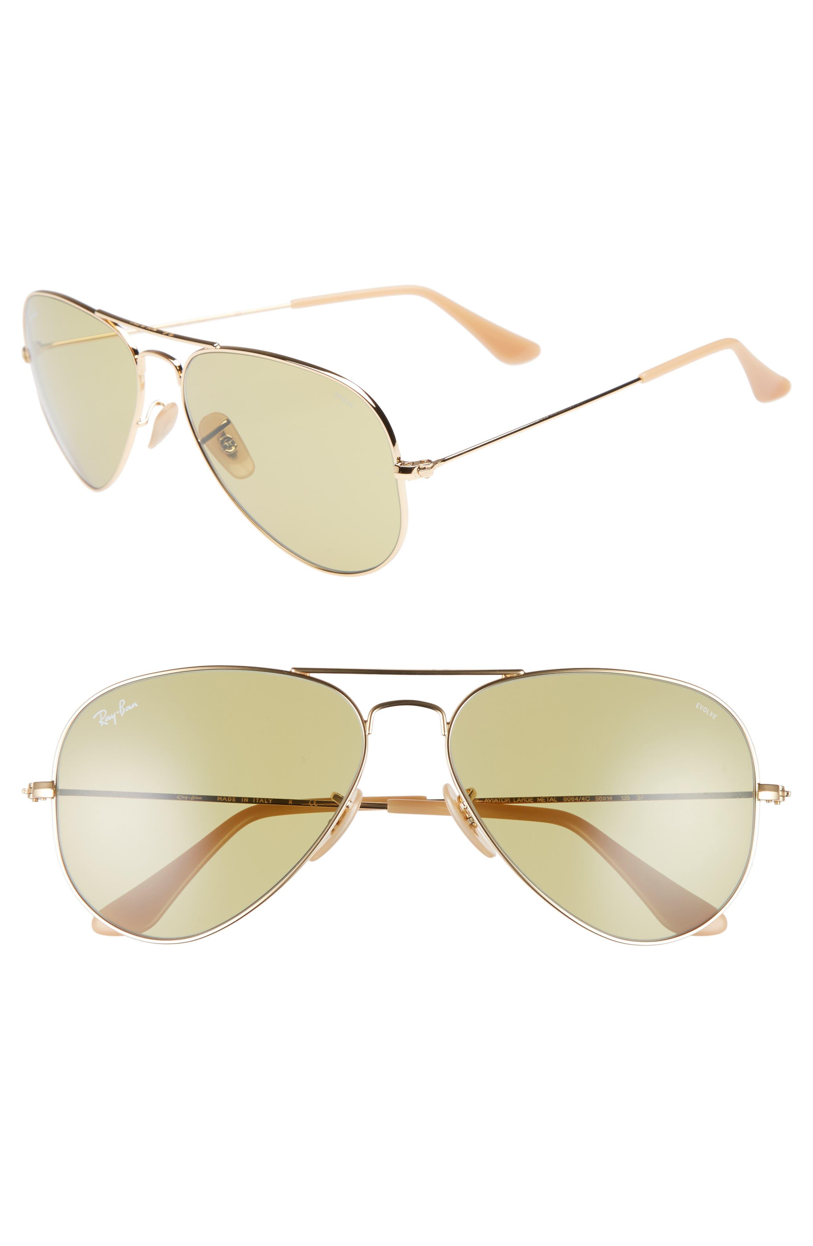 Ray-Ban Evolve 5m Polarized Aviator Sunglasses - Gold