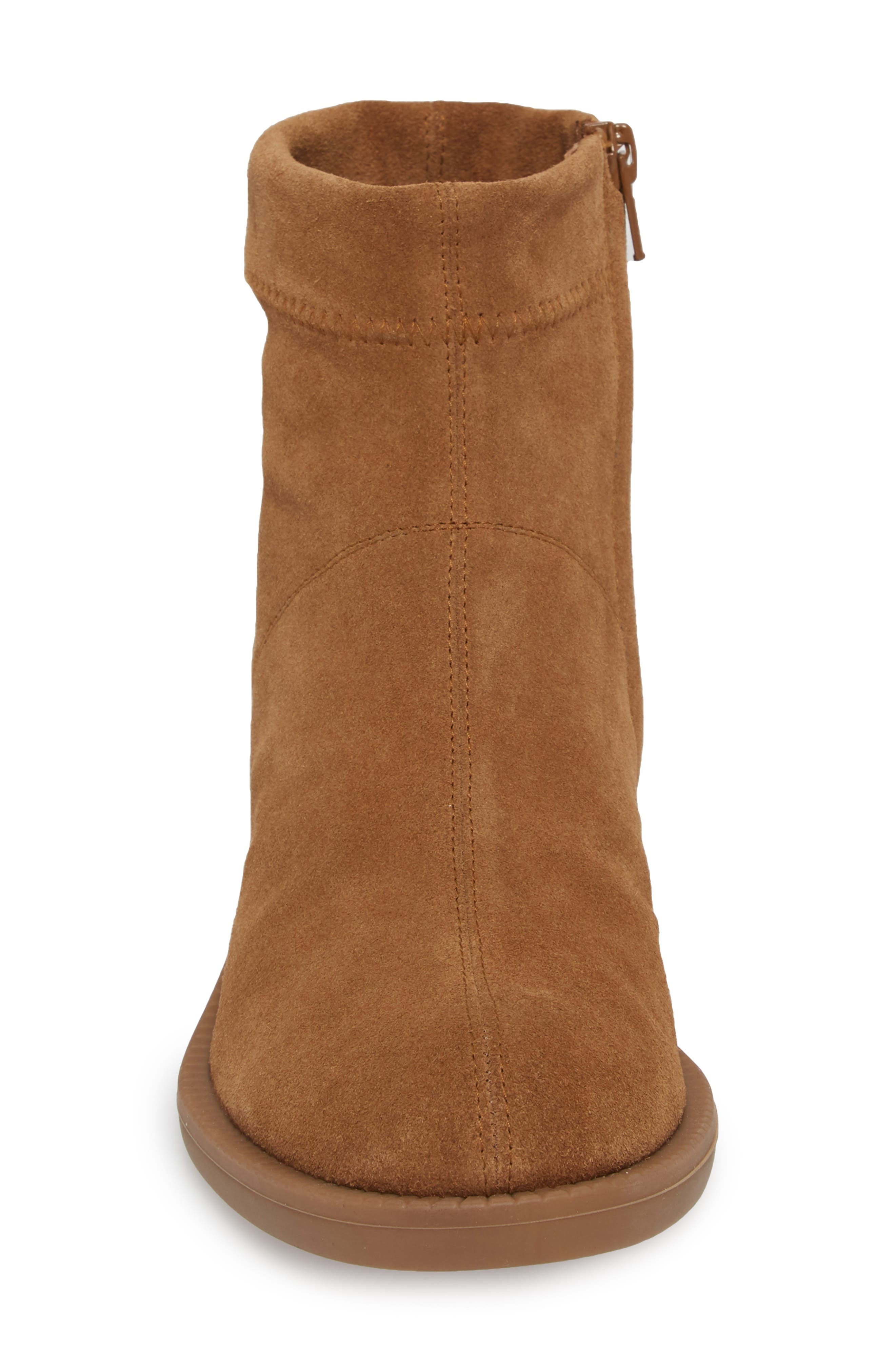 Kana Low Bootie,                             Alternate thumbnail 4, color,                             TOBACCO STRETCH  SUEDE