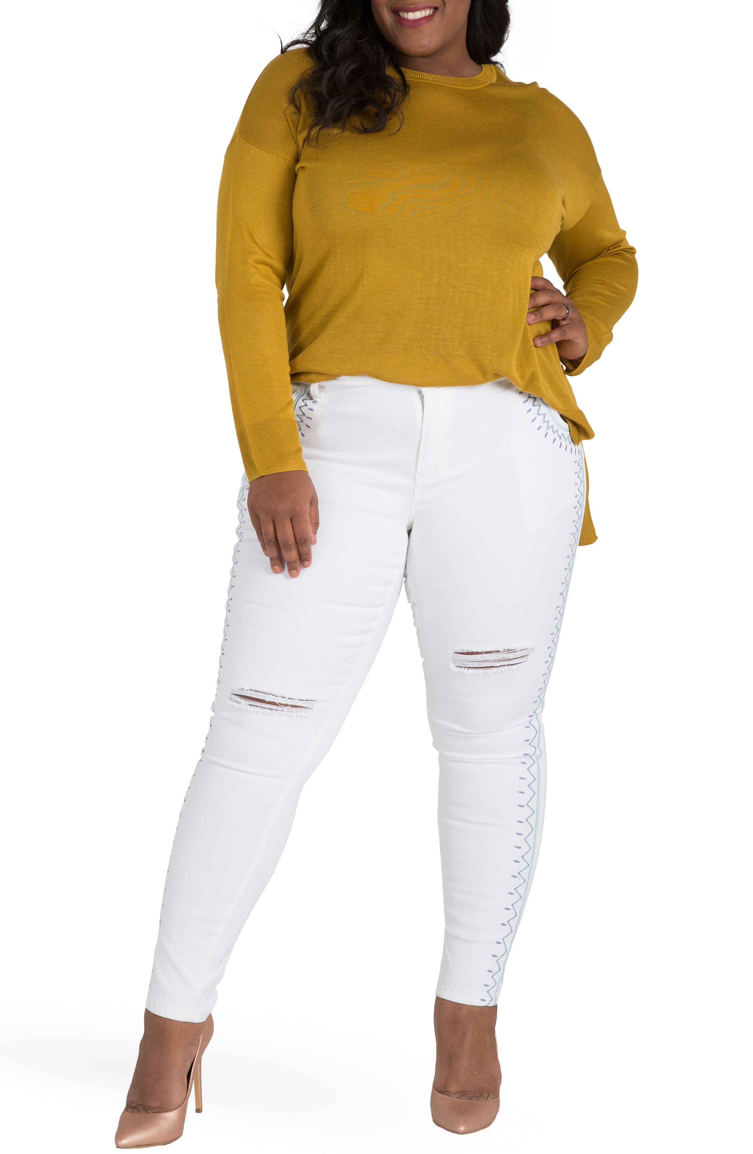Shantelle Embroidered Distressed Skinny Jeans,                             Alternate thumbnail 5, color,                             WHITEOUT