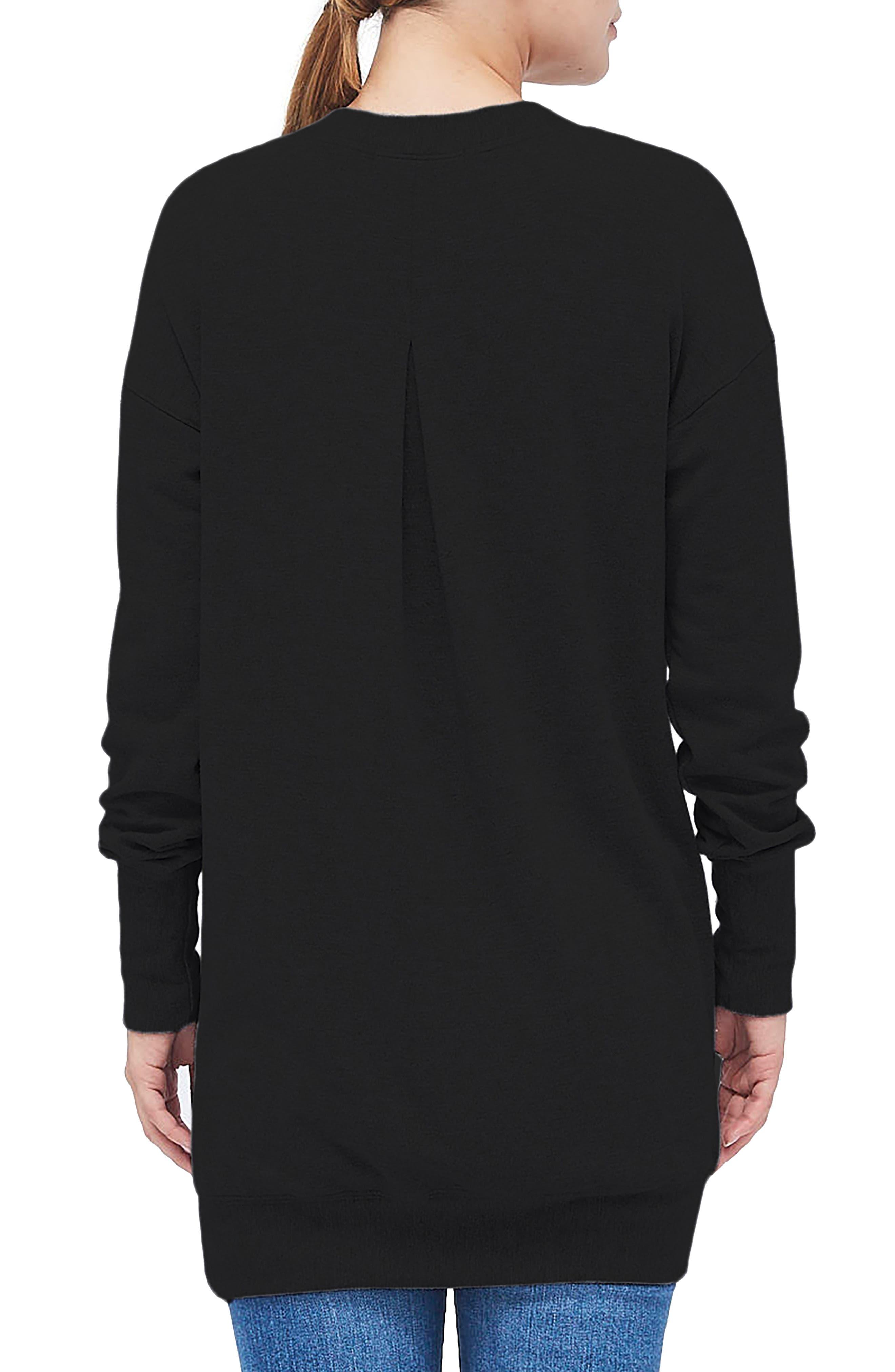 Fleece Tunic Top,                             Alternate thumbnail 2, color,                             BLACK