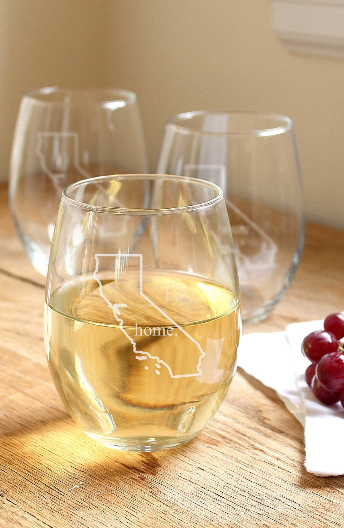 Home State Set of 4 Stemless Wine Glasses,                             Main thumbnail 6, color,