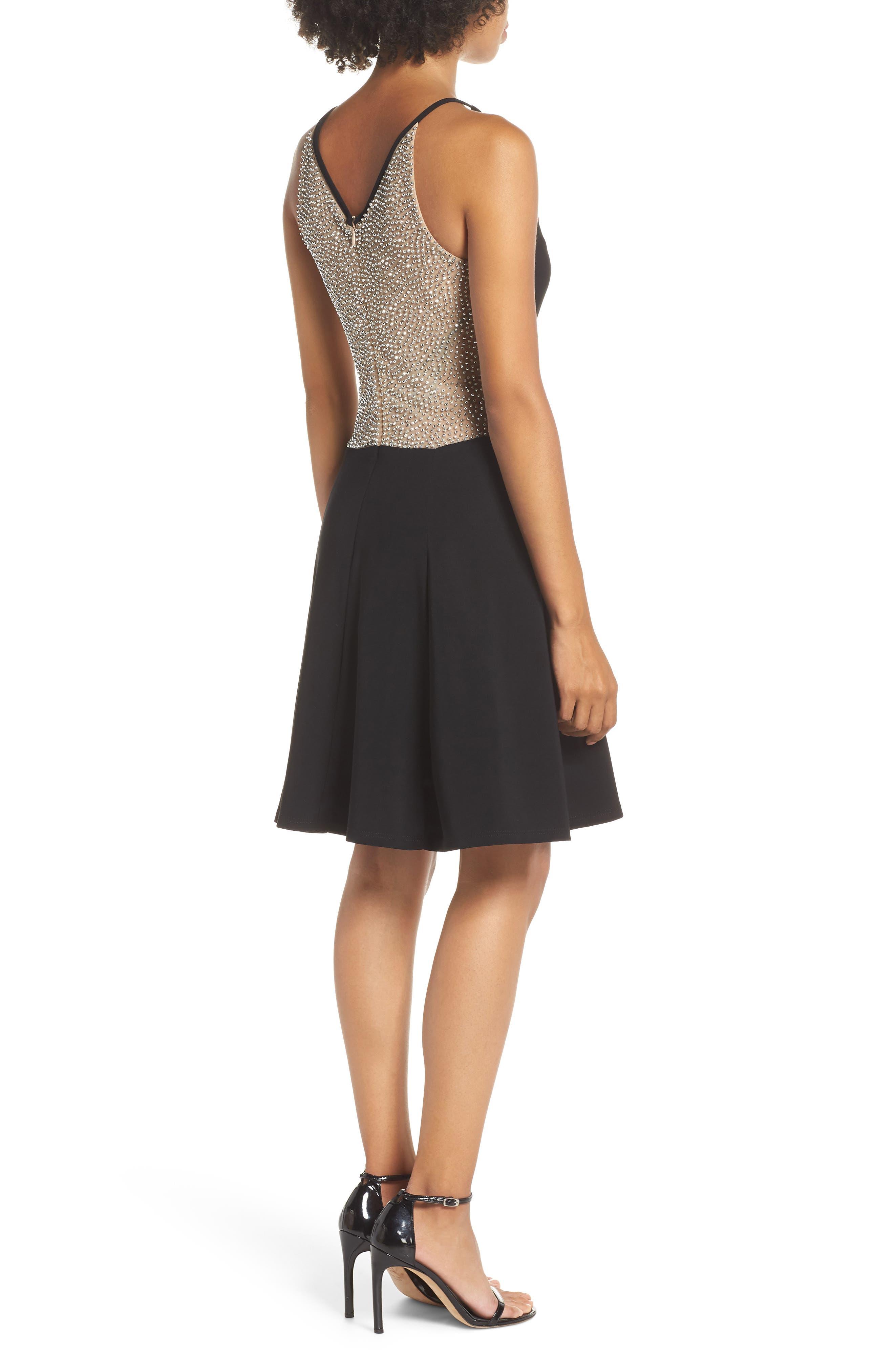 Deep V-Neck Skater Dress,                             Alternate thumbnail 2, color,                             BLACK/ / NUDE/ SILVER