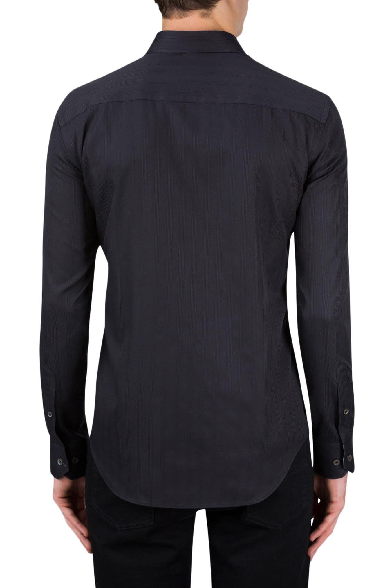 Classic Fit Stripe Jacquard Sport Shirt,                             Alternate thumbnail 2, color,                             001