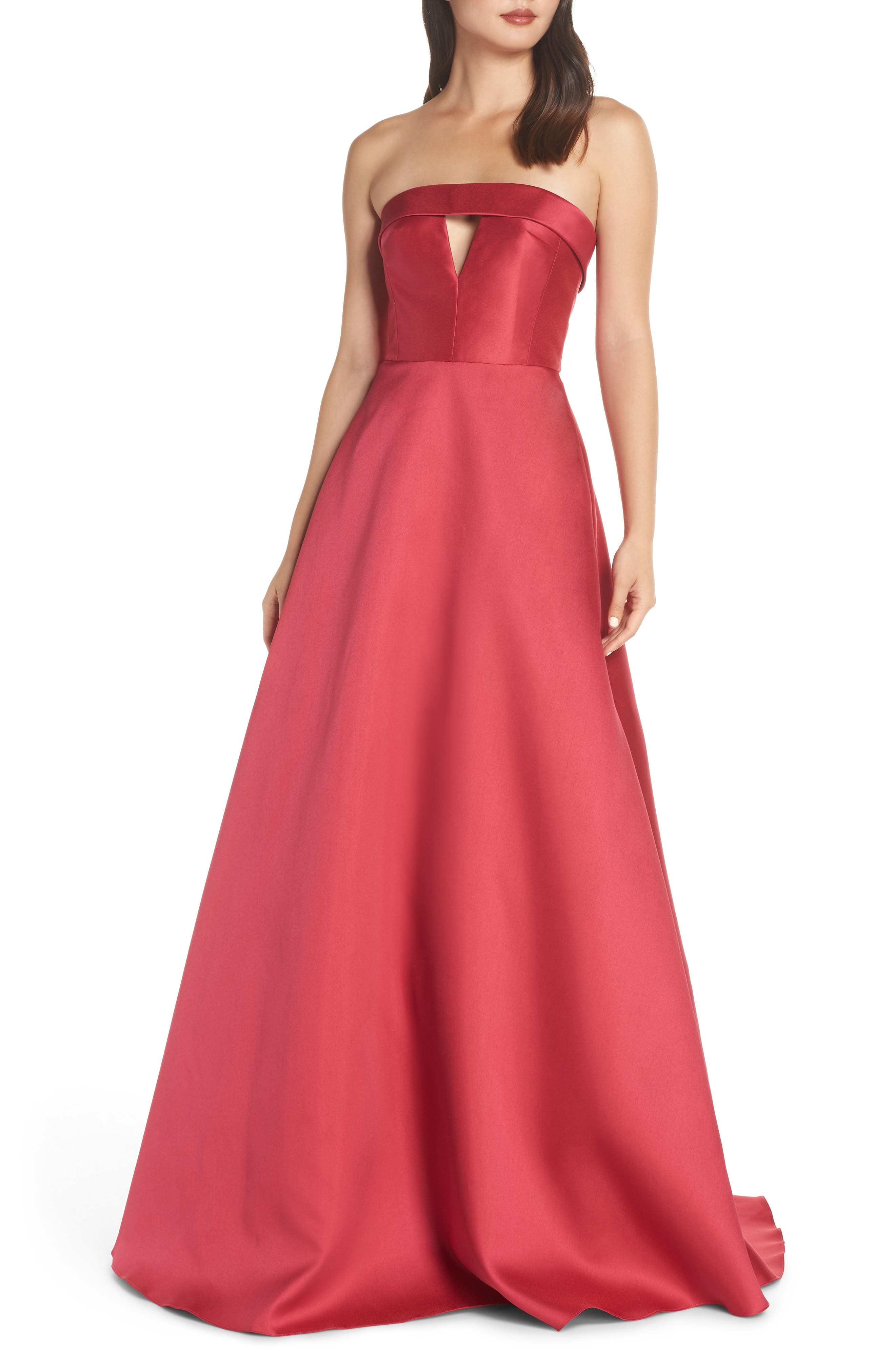 Ml Monique Lhuillier Strapless Satin Ballgown, Pink