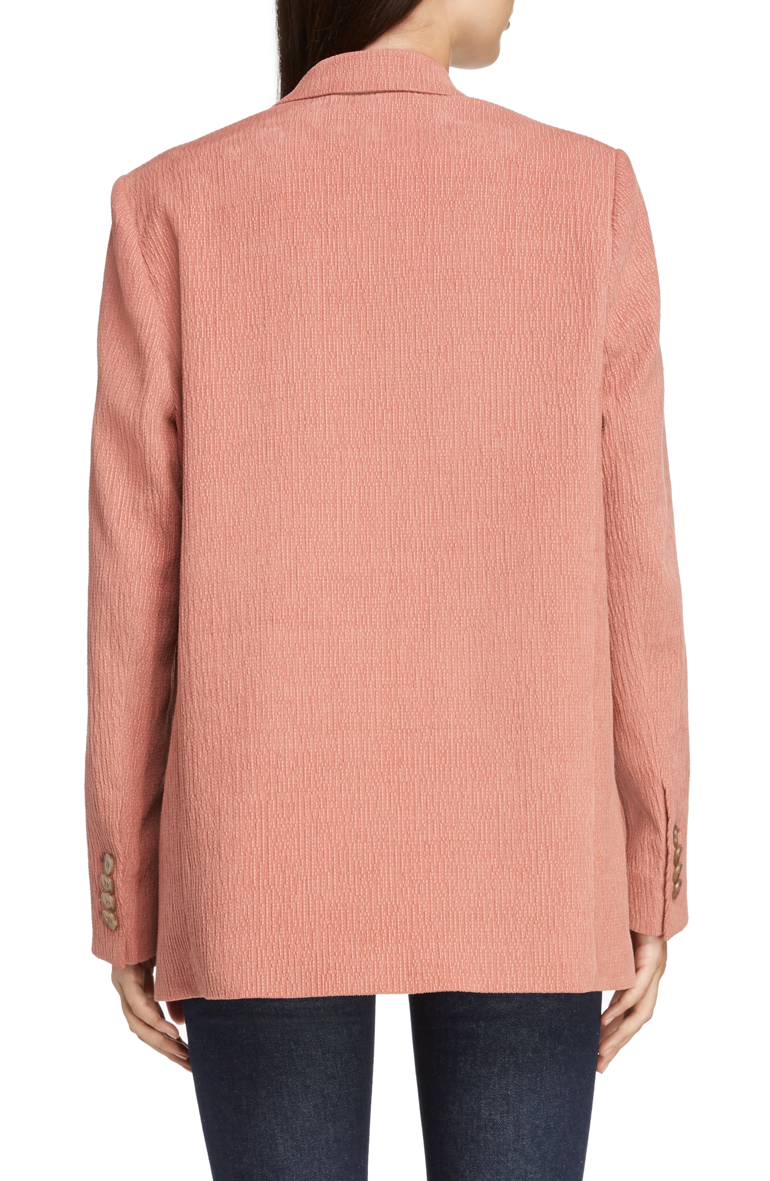 ACNE STUDIOS,                             Corduroy Double Breasted Blazer,                             Alternate thumbnail 2, color,                             OLD PINK