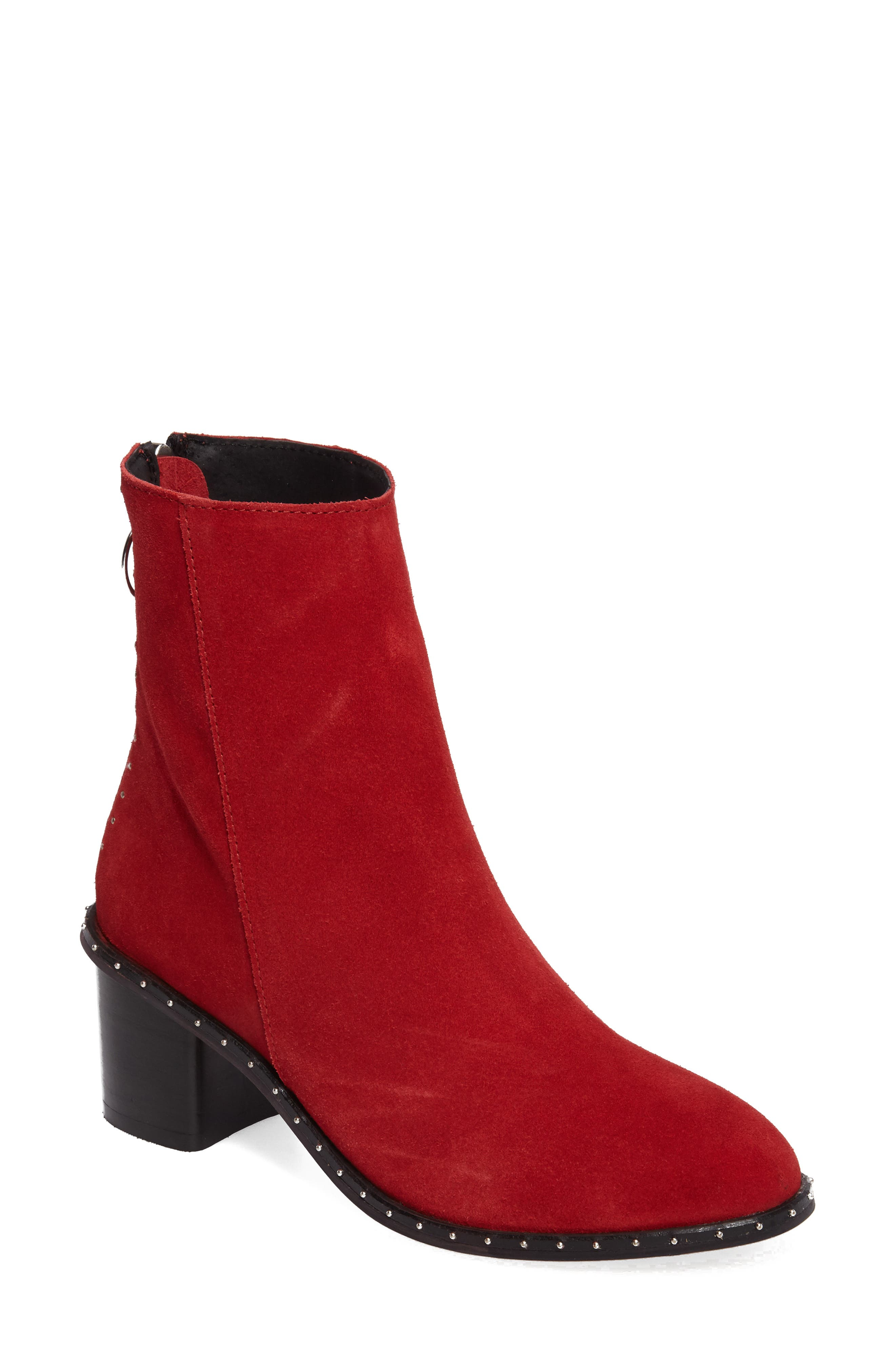 Miranda Studded Bootie,                             Main thumbnail 1, color,                             RED