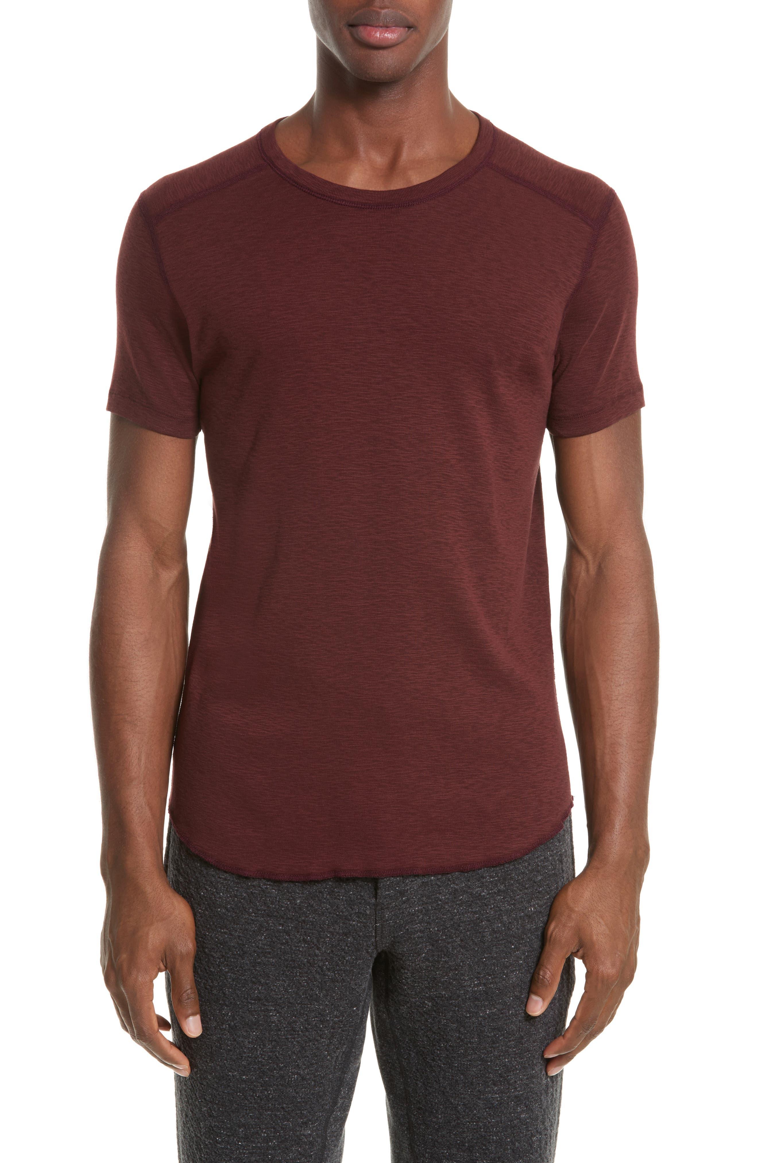 Ribbed Slub Cotton T-Shirt,                         Main,                         color, OXBLOOD