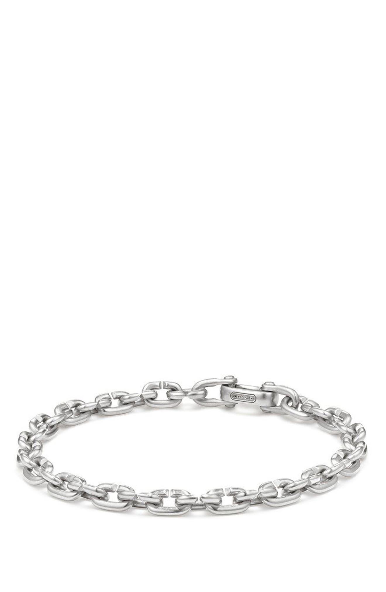 Narrow Chain Link Bracelet,                             Main thumbnail 1, color,                             SILVER
