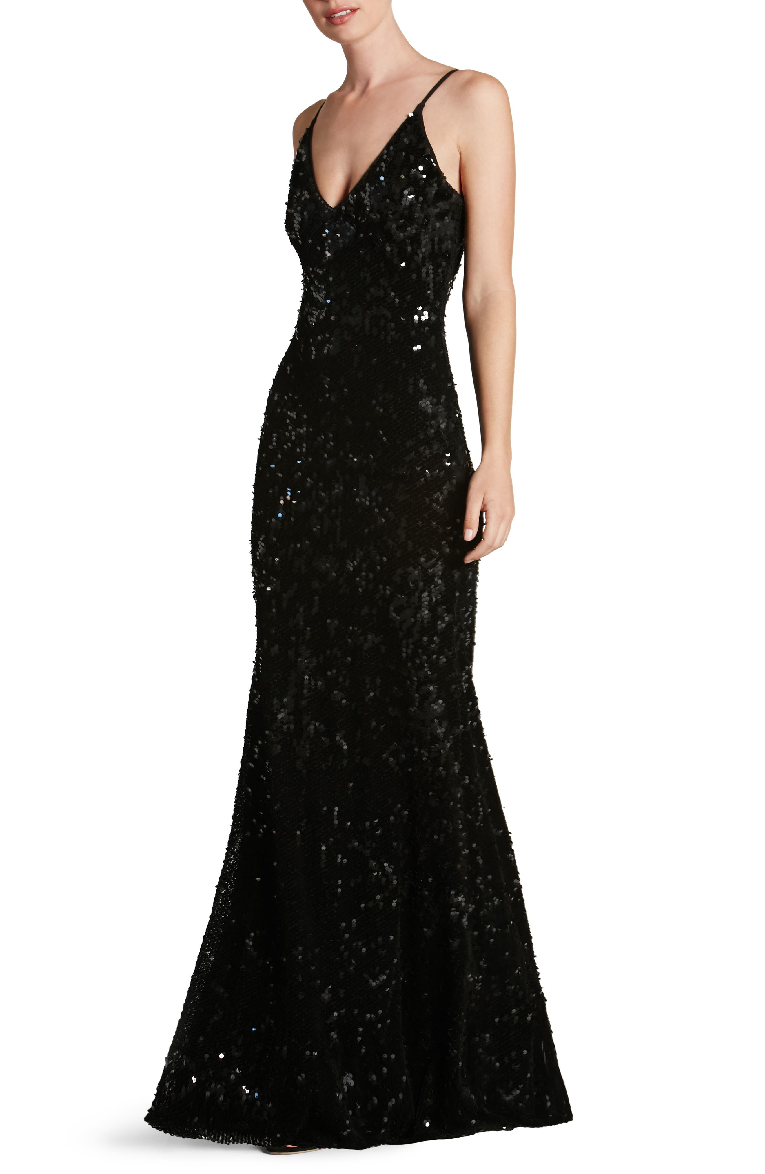 Vanessa Sequin Gown,                             Alternate thumbnail 5, color,                             001