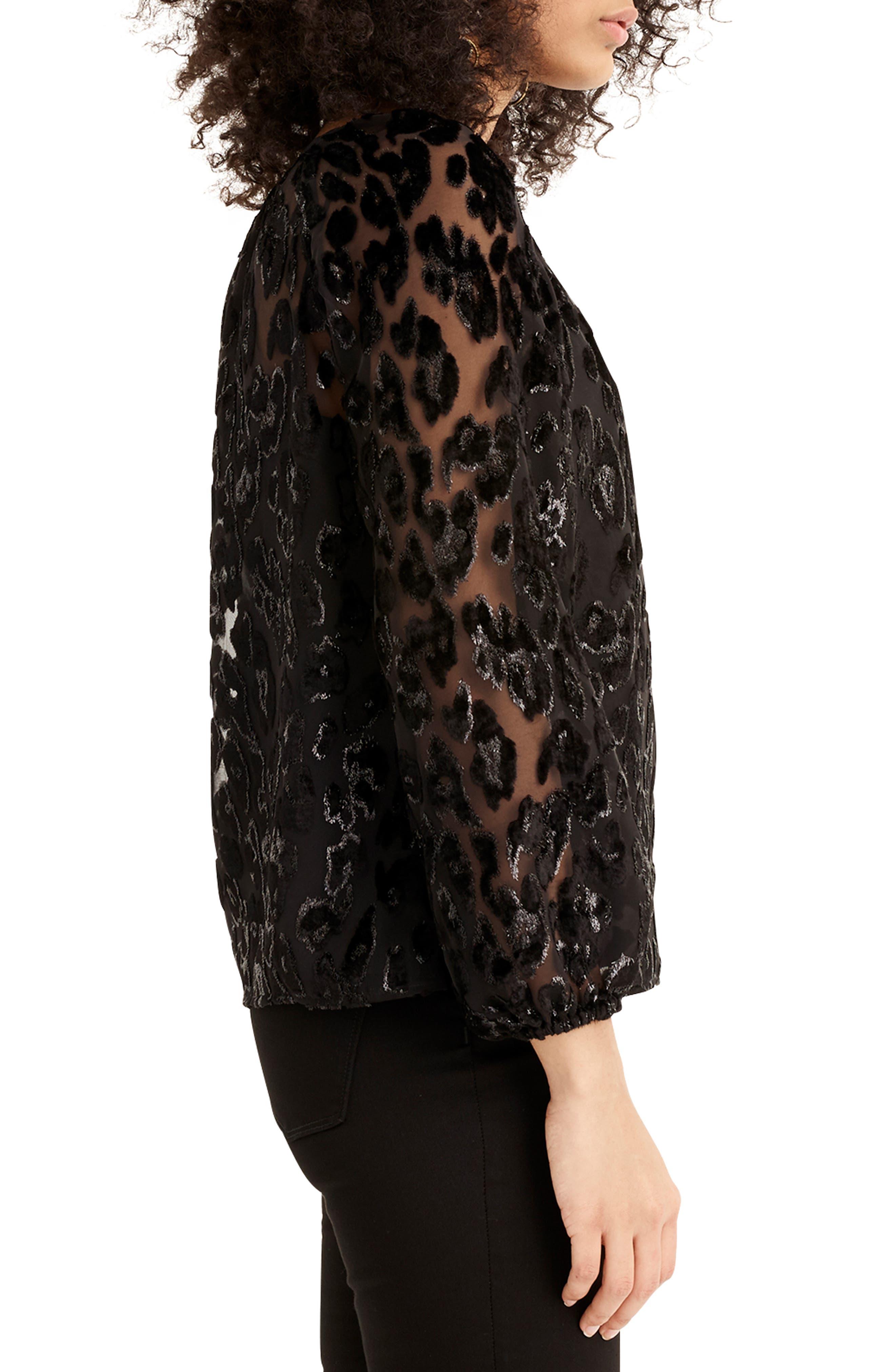 Leopard Velvet Popover Top,                             Alternate thumbnail 3, color,                             BLACK