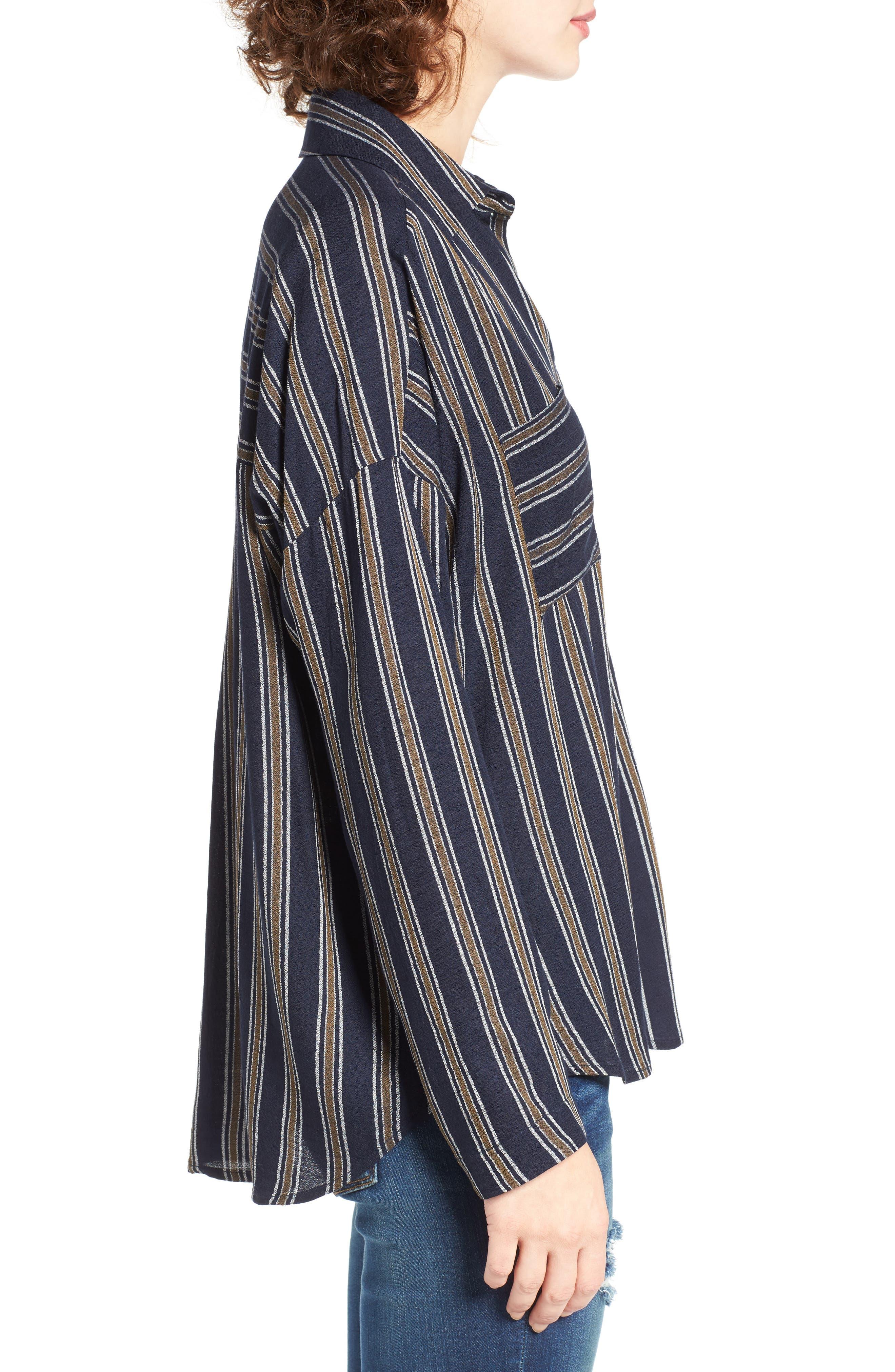 BP.,                             Stripe Button Front Shirt,                             Alternate thumbnail 3, color,                             410
