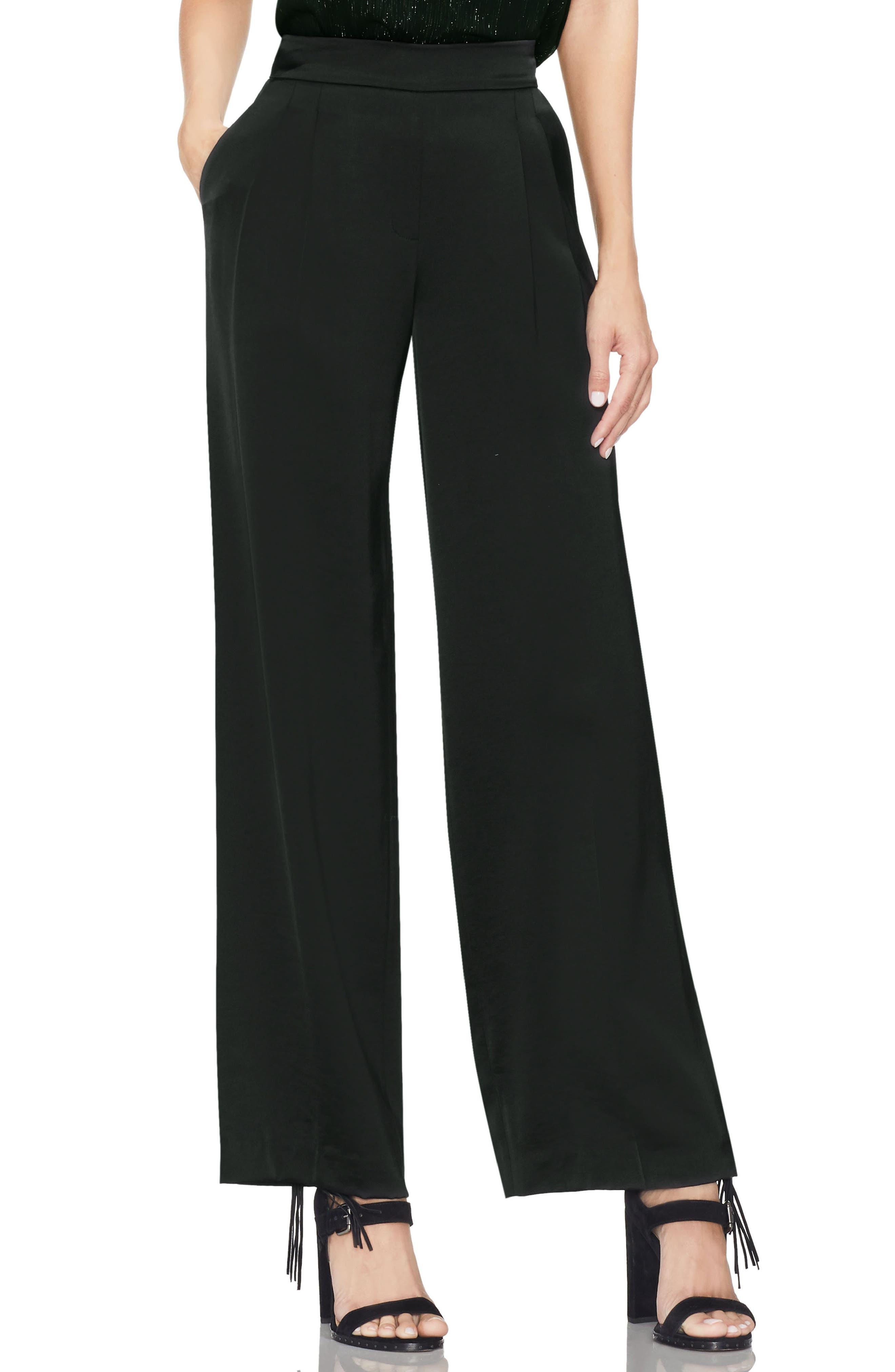 Satin Front Pleat Wide Leg Pants,                         Main,                         color, RICH BLACK
