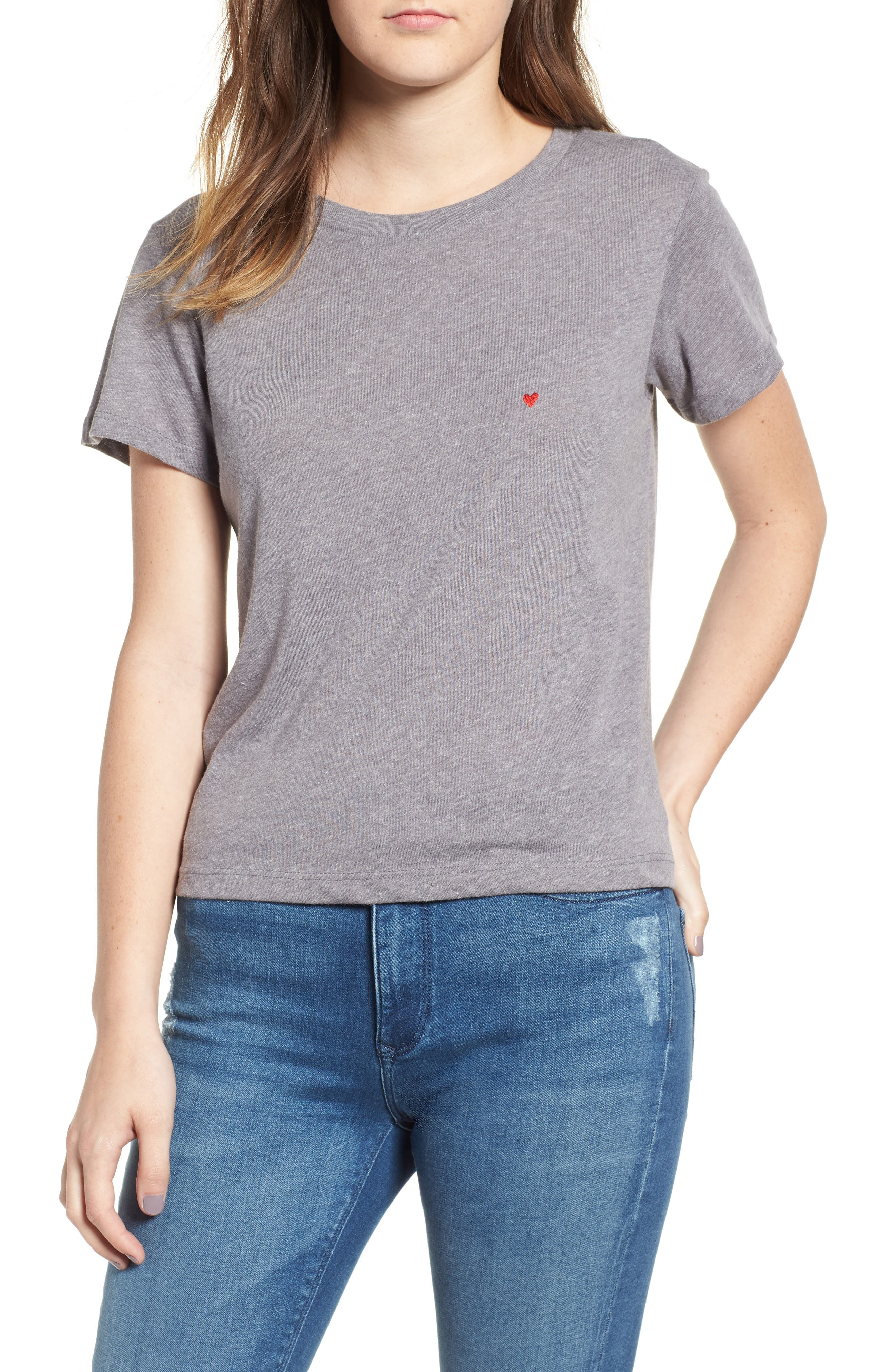 Embroidered Heart Tee,                         Main,                         color,