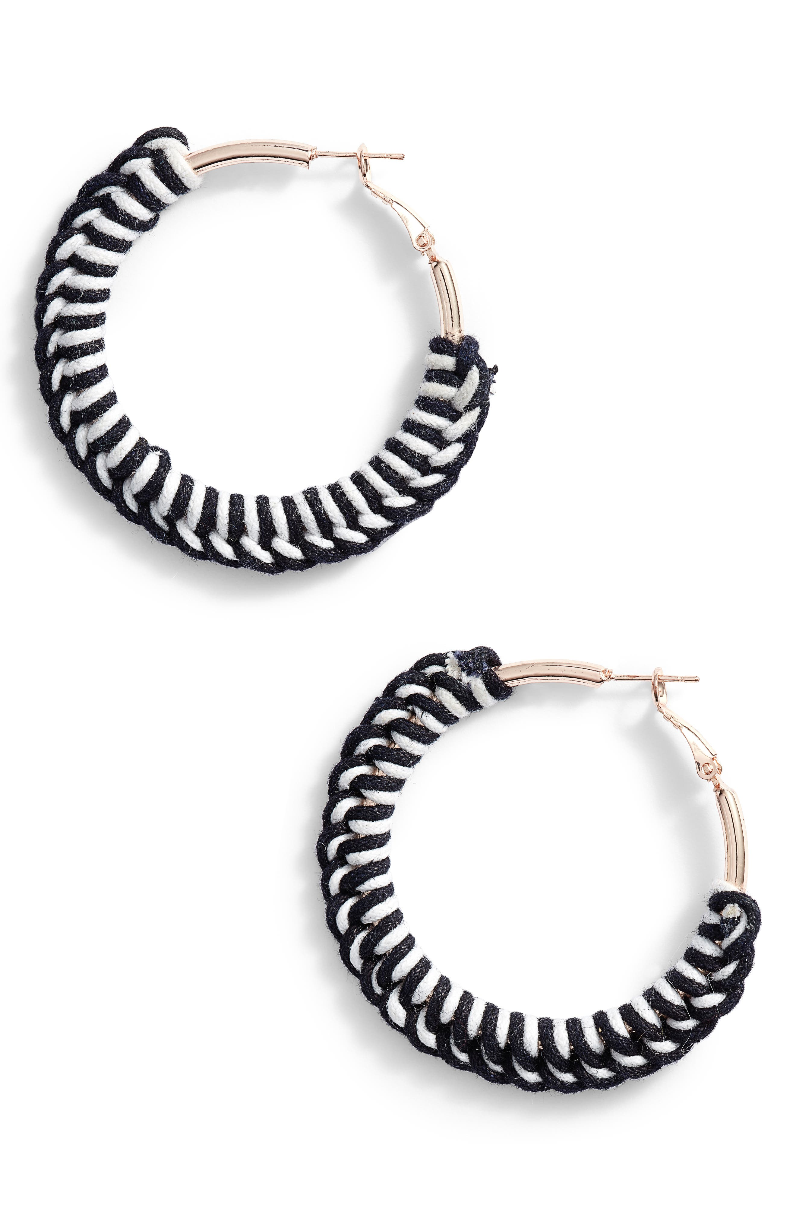 NEW FRIENDS COLONY Dulce Macrame Hoop Earrings in Black/ White