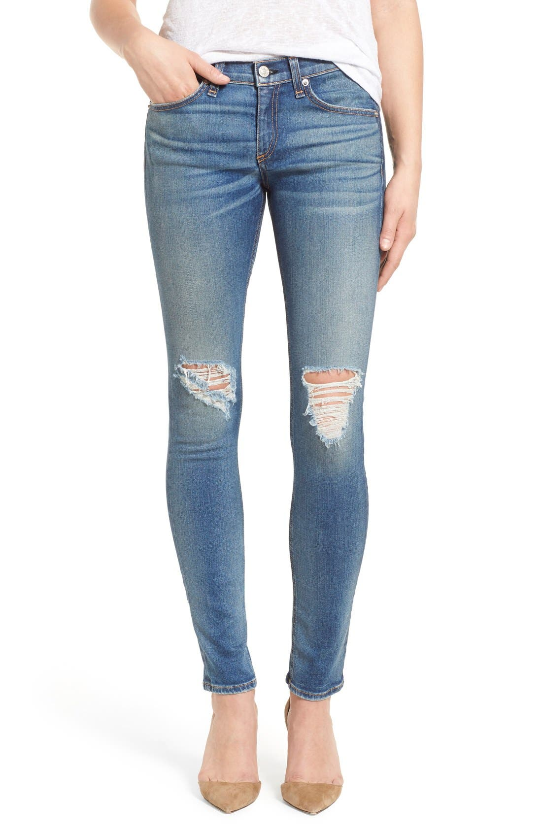 Destroyed Skinny Jeans,                             Main thumbnail 1, color,                             470