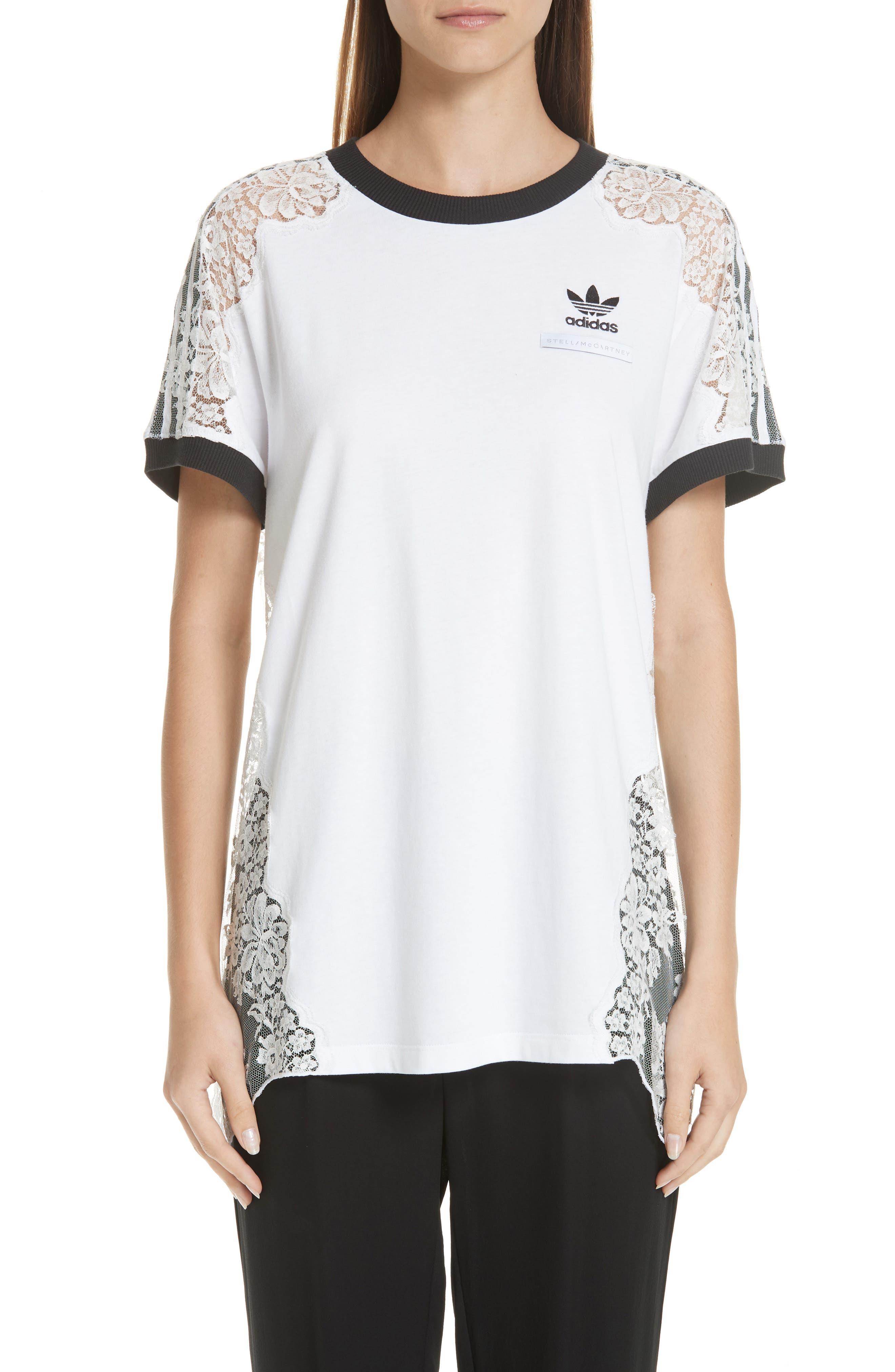 Stella Mccartney Lace Inset Adidas Logo Tee, White
