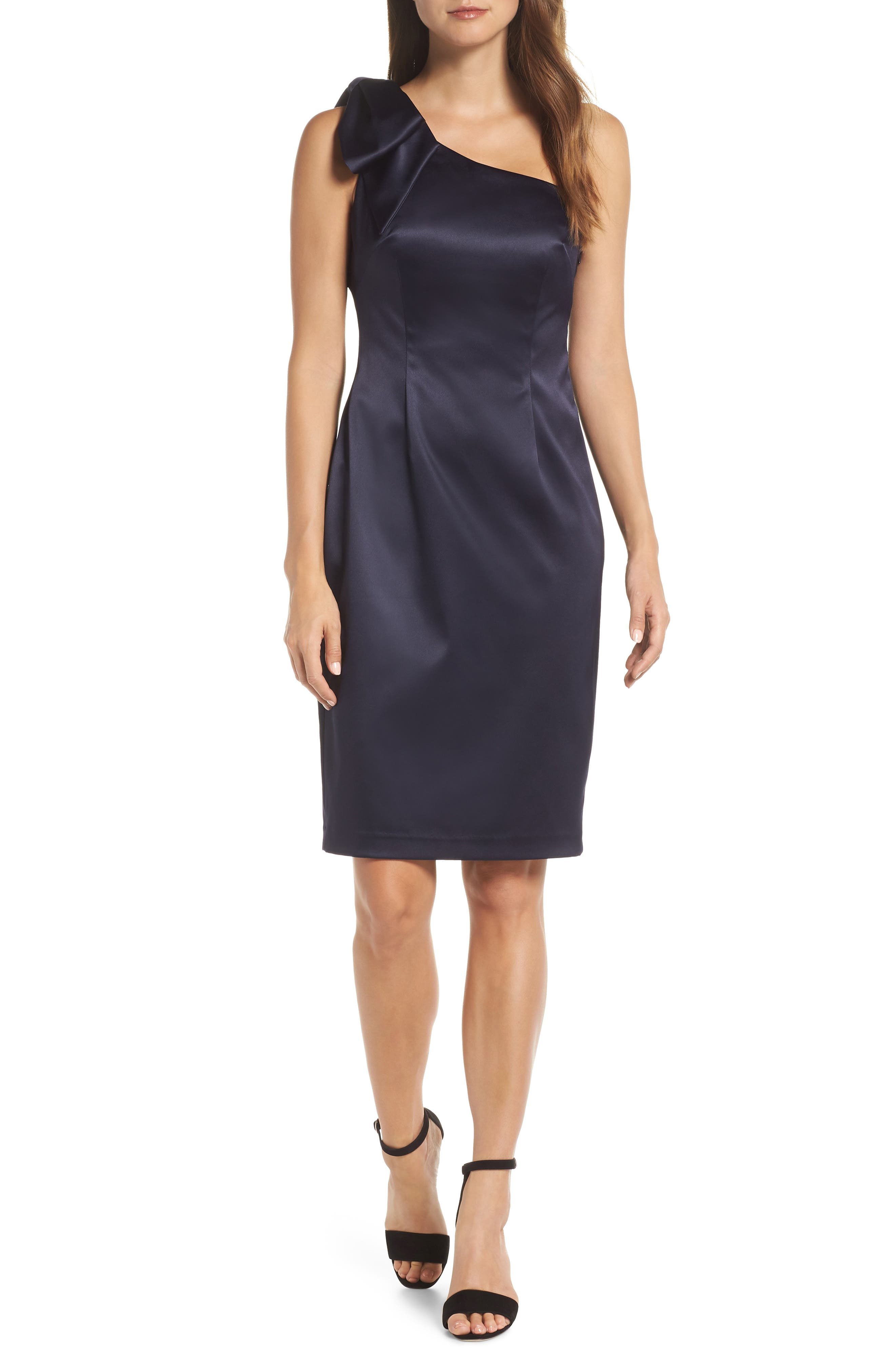 Eliza J One-Shoulder Bow Detail Satin Sheath Dress, Blue