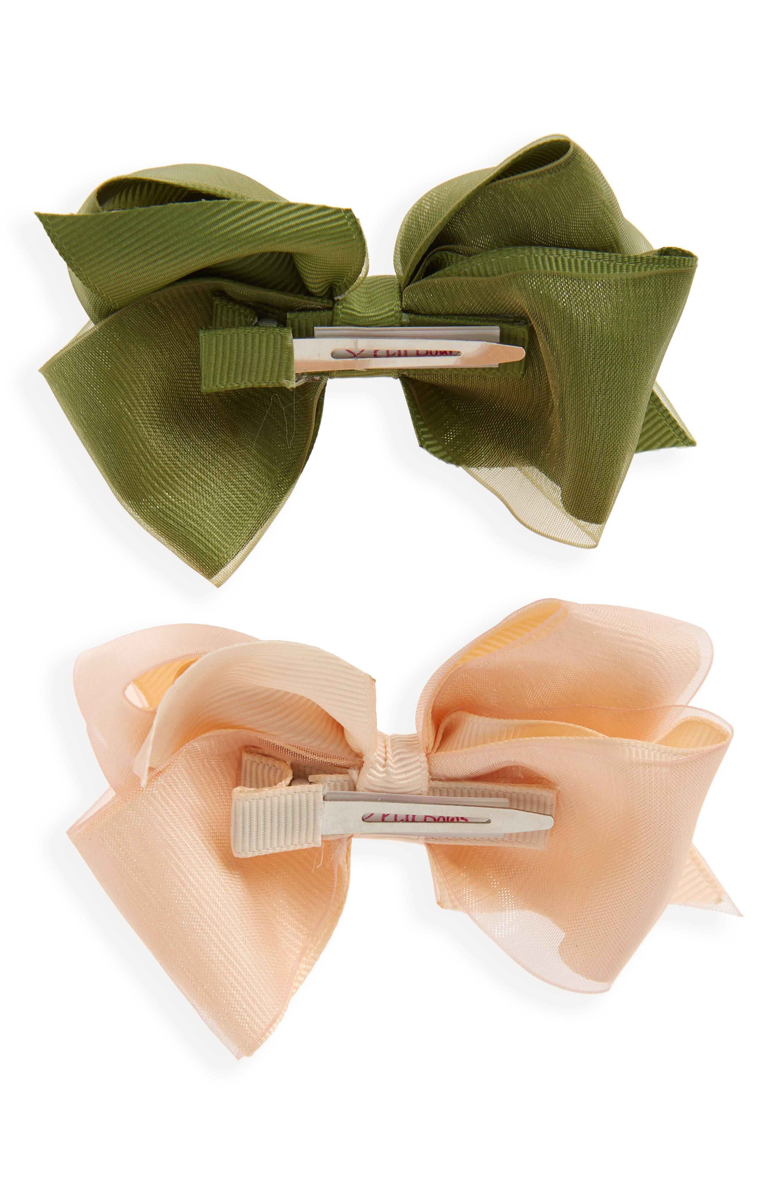 2-Pack Organza Bow Hair Clips,                             Alternate thumbnail 3, color,                             NUDE
