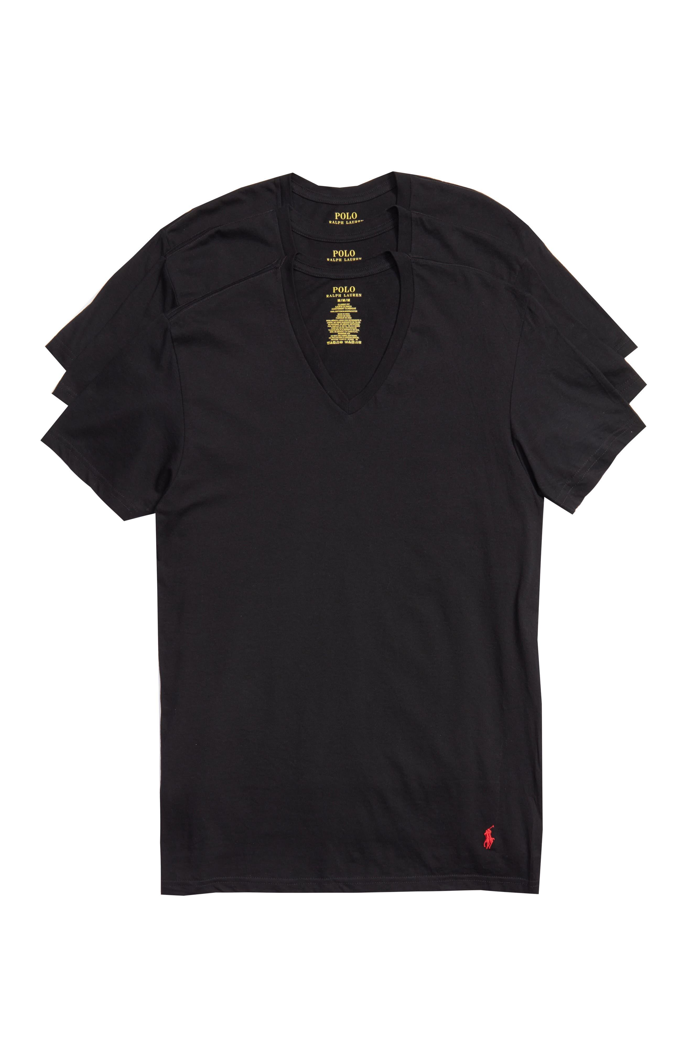 Polo Ralph Lauren 3-Pack V-Neck T-Shirts,                             Main thumbnail 1, color,                             POLO BLACK
