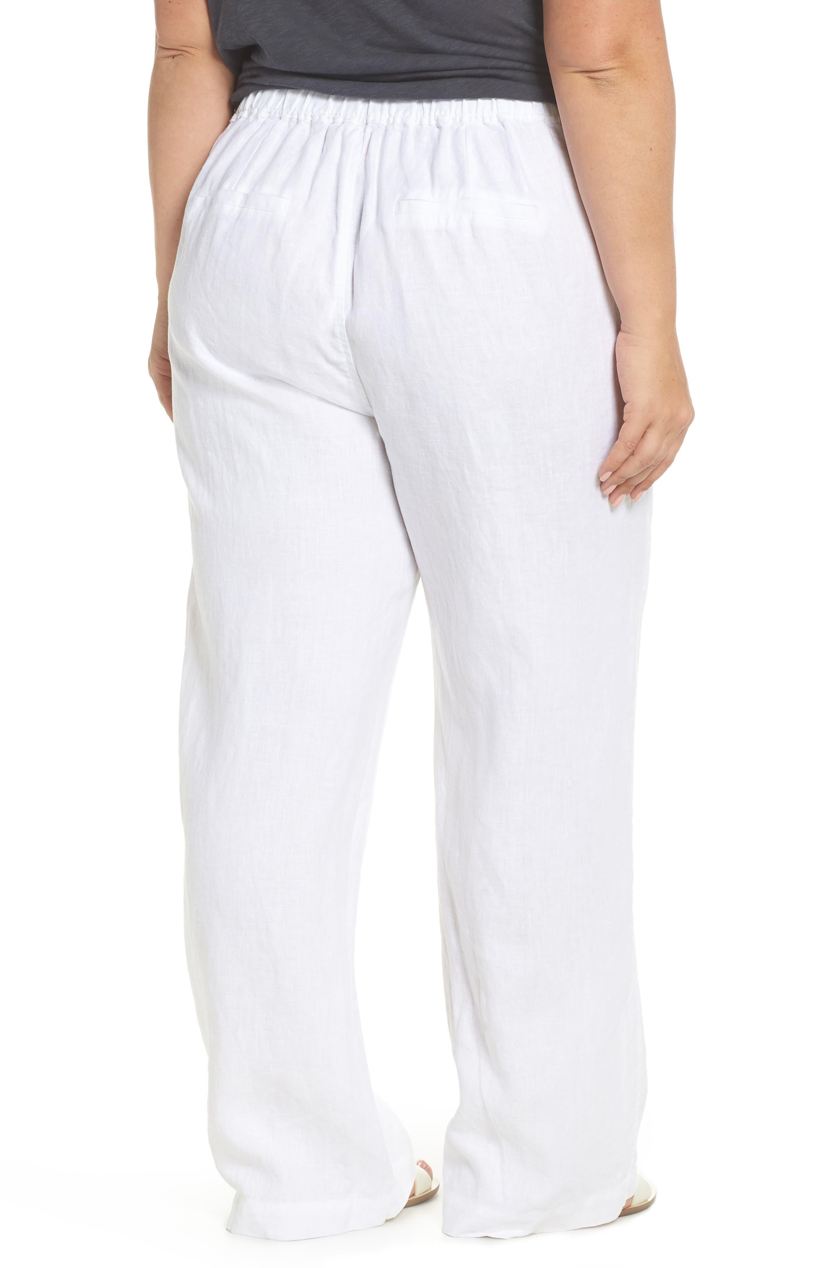 Wide Leg Linen Pants,                             Alternate thumbnail 2, color,                             ULTRA WHITE